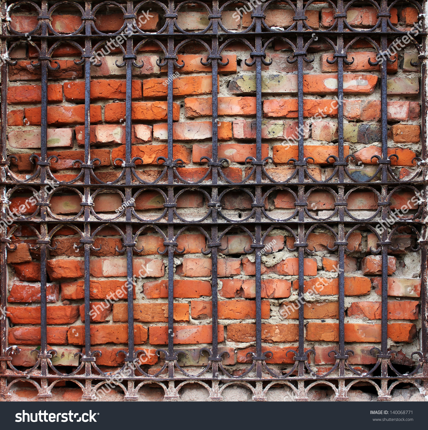 Decorative Metal Grates Old Vintage Decorative Metal Grate And Brickwall Background Stock