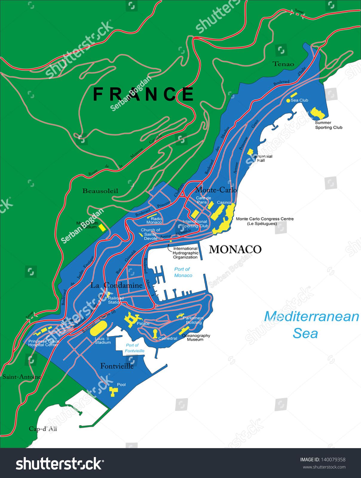 monaco map stock vector   shutterstock - monaco map