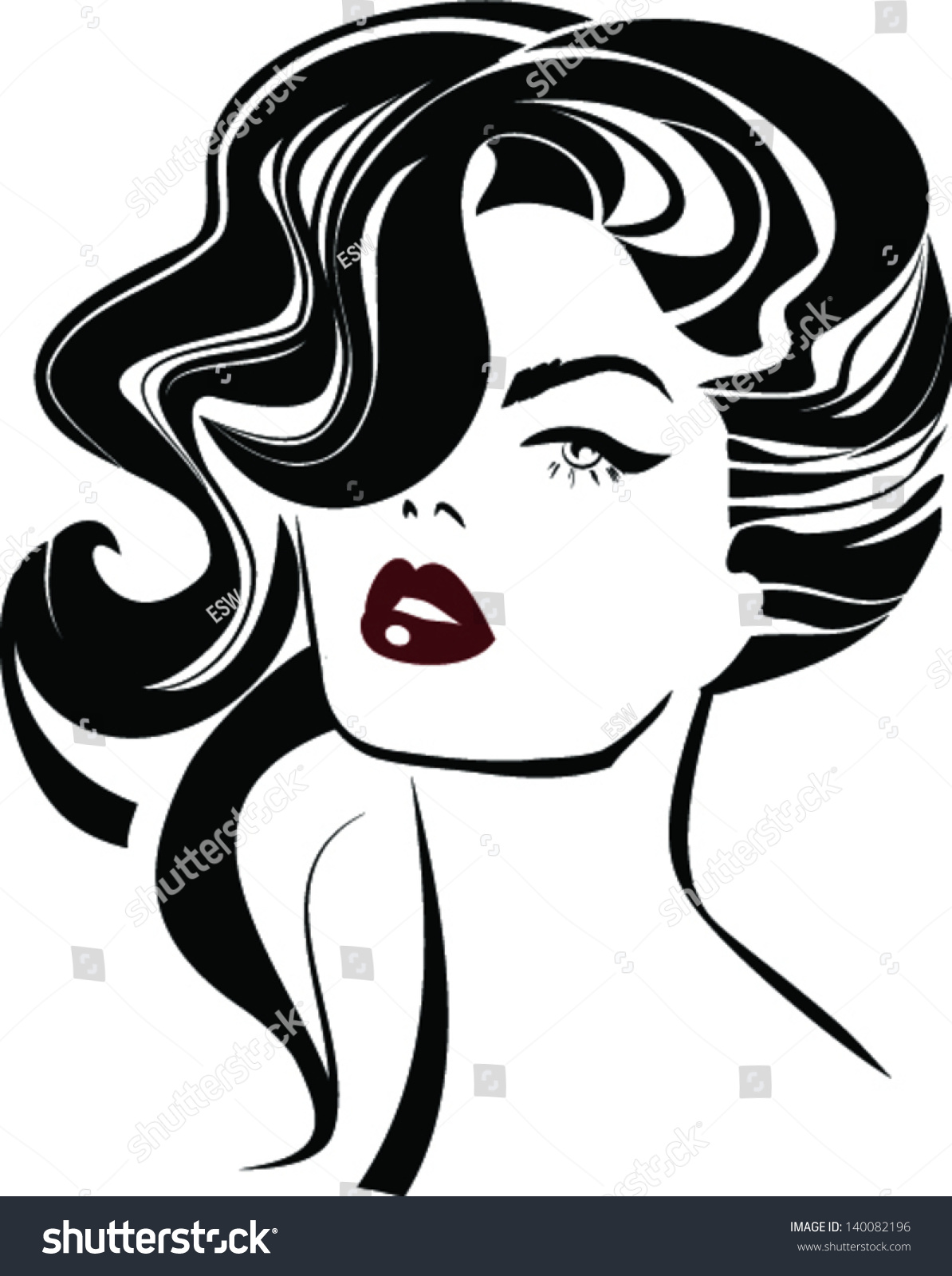 Beautiful Woman Face Fashion Icon Stock Vector 140082196 ...