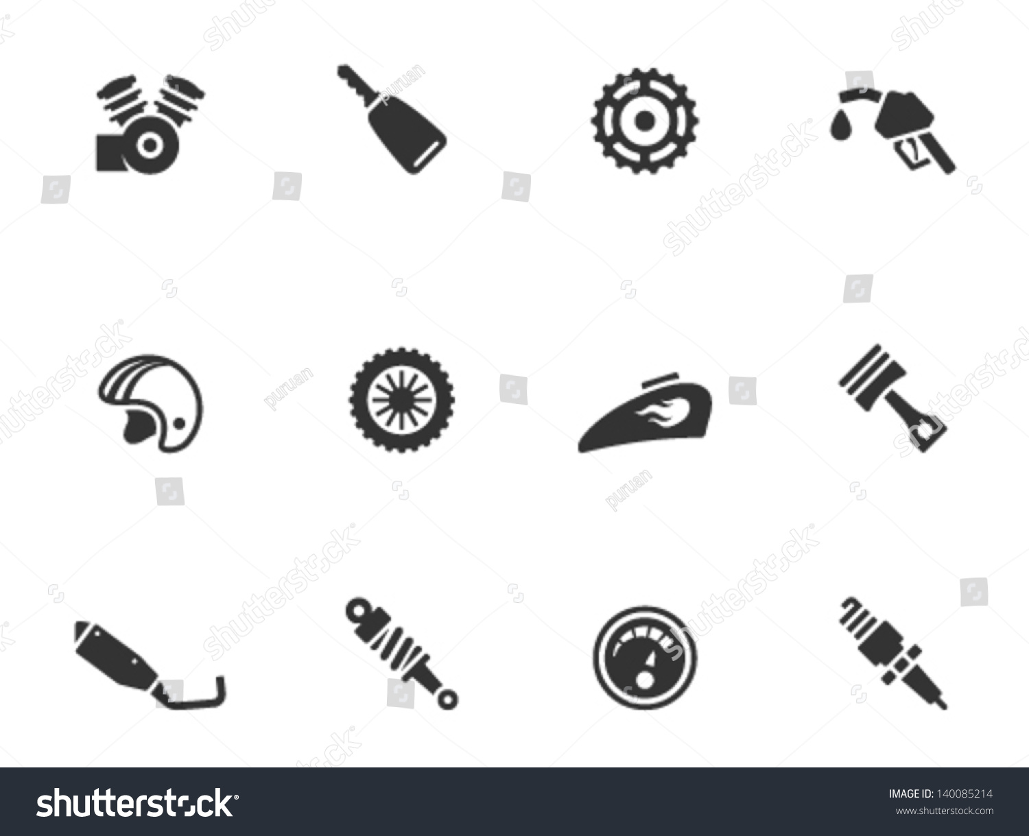 Motorcycle Parts Icons...