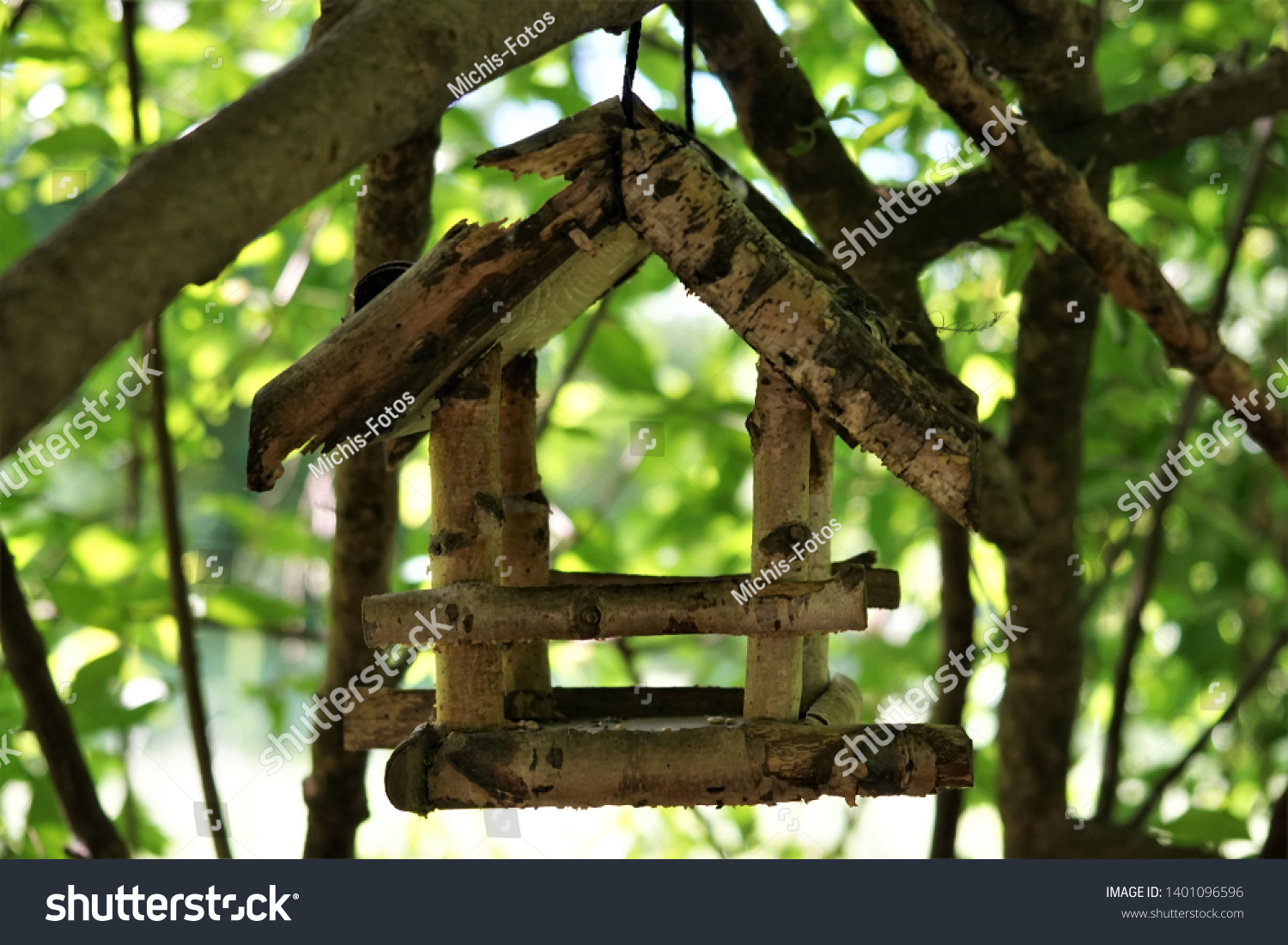 Wooden Bird Table Hanging On Tree Stock Photo Edit Now 1401096596