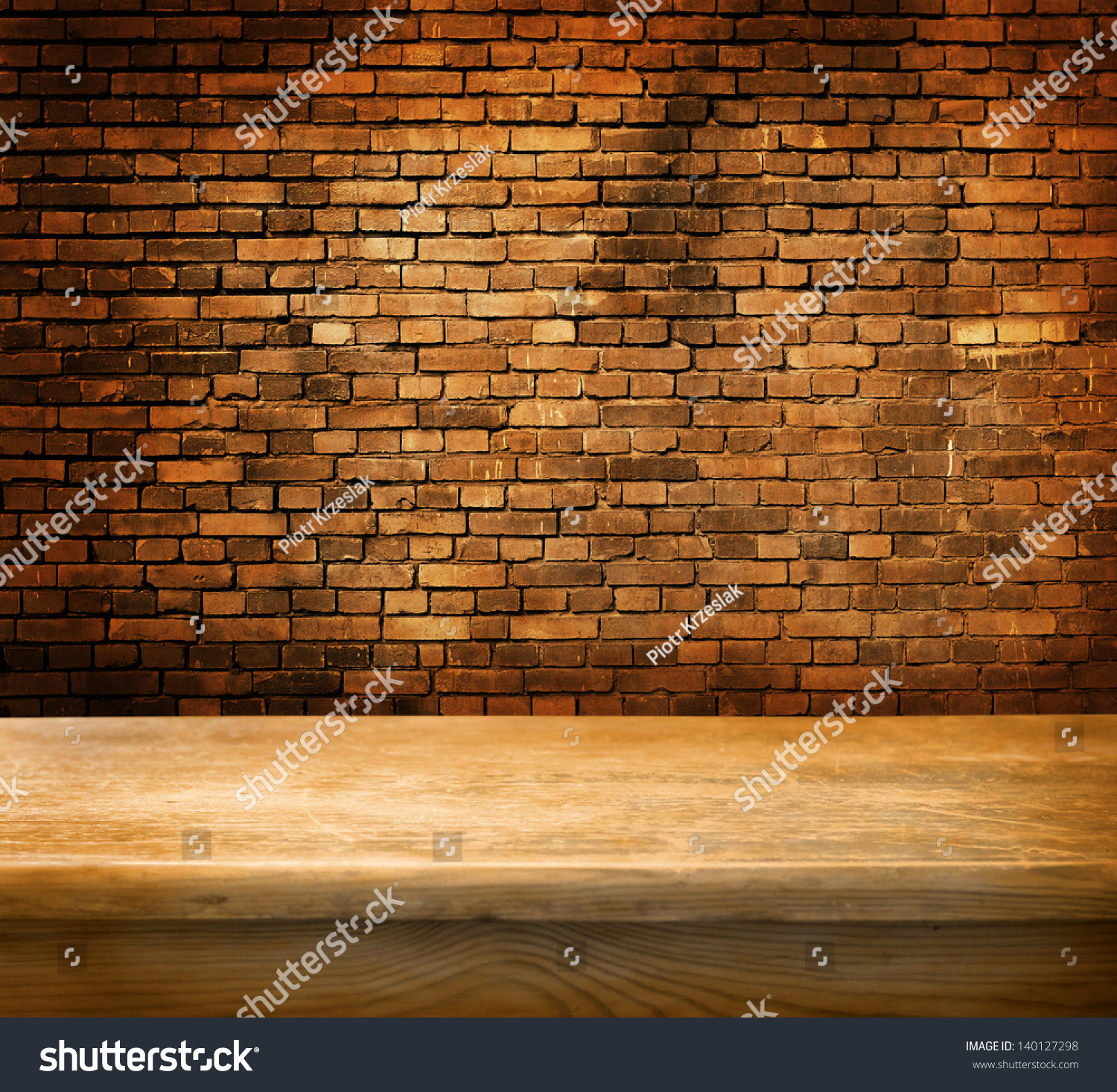 Background image table - Empty Table And Brick Wall In Background Great For Product Display