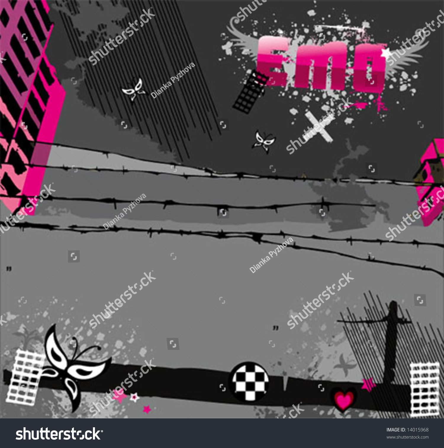 Abstract Pink Emo Background Set. To See Similar, Please