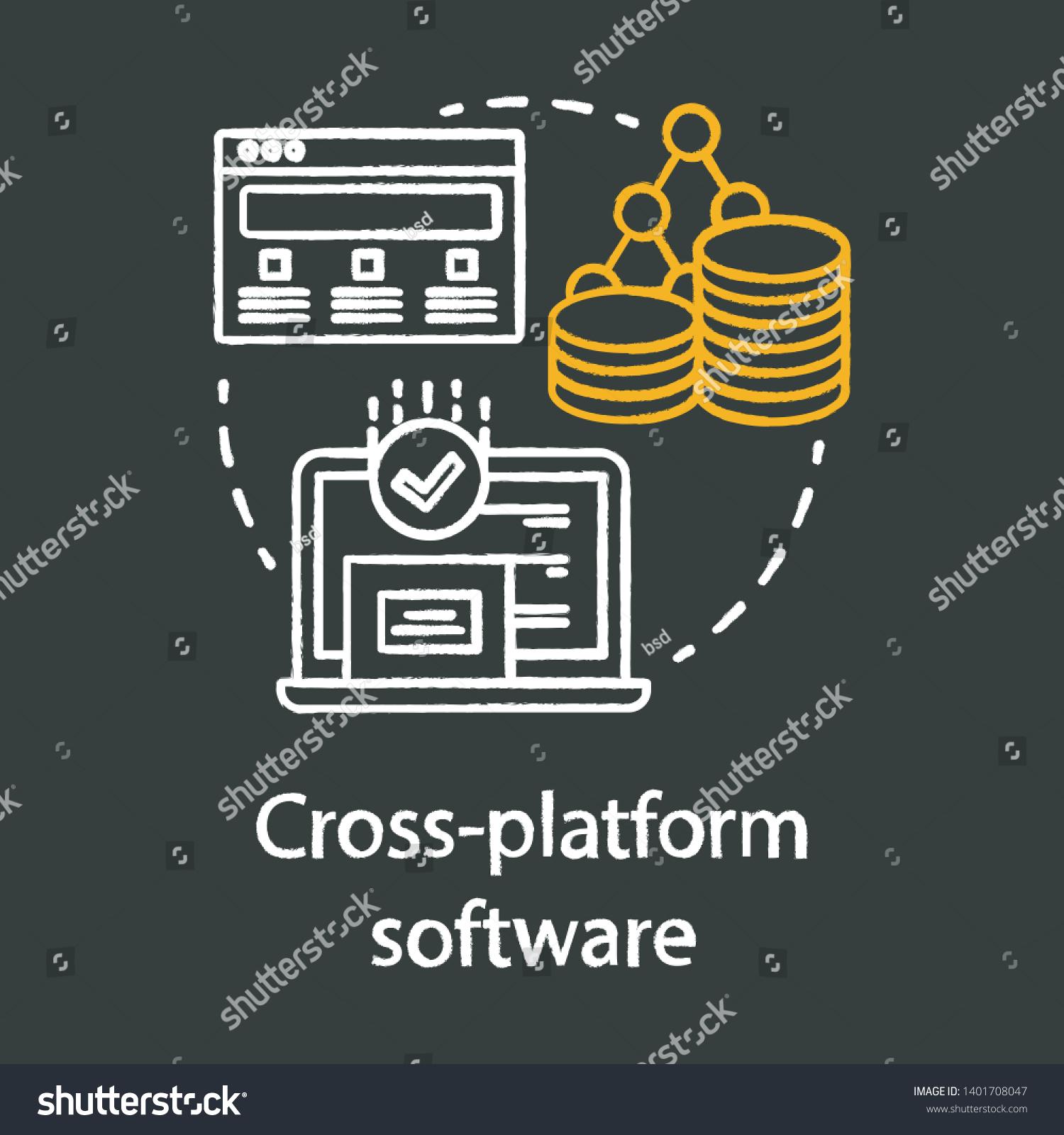 Cross Platform Software Development Chalk Concept Stock Vector