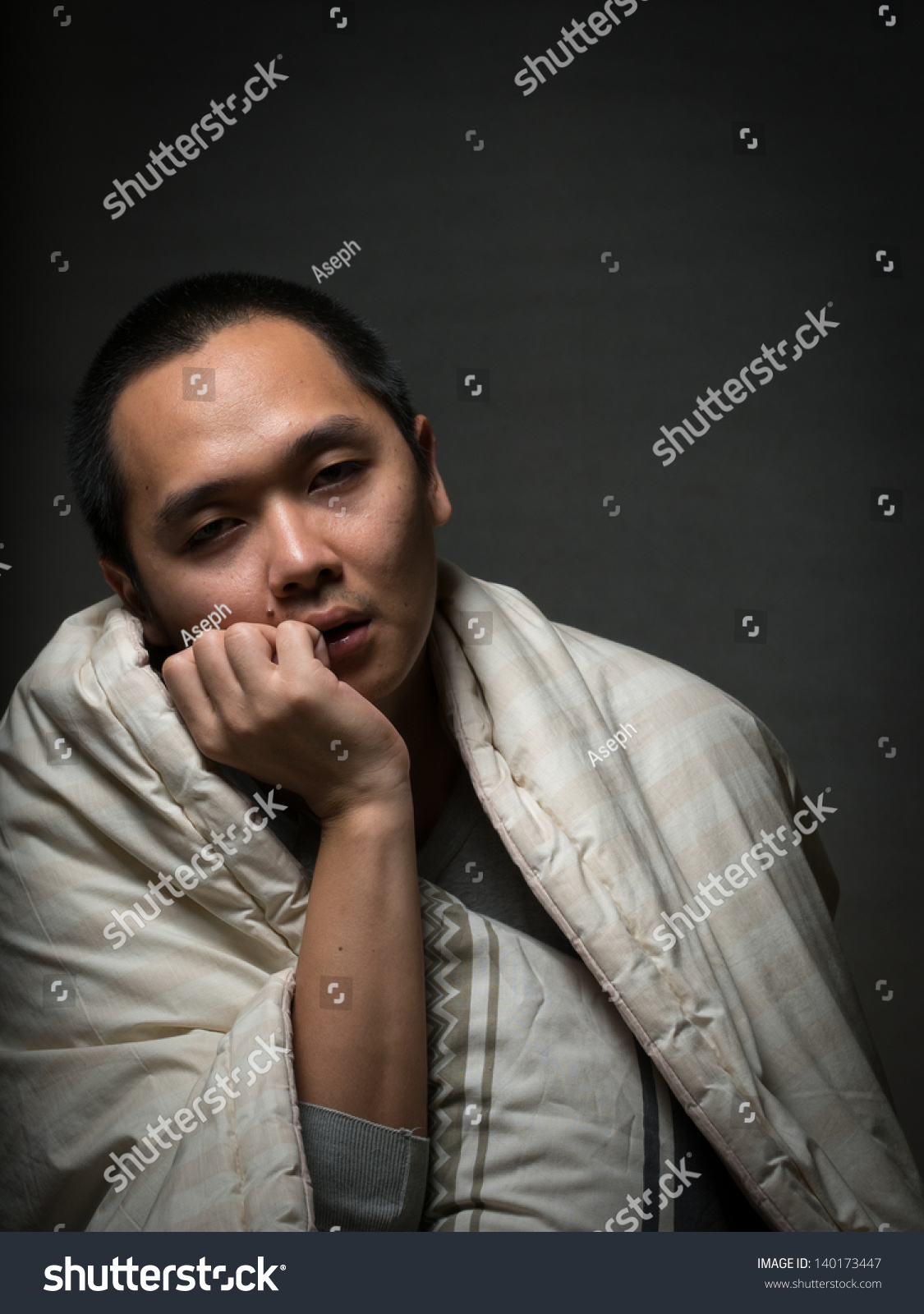 Bored Sleepy Tired Person Waiting Trying To Stay Awake Stock Photo 140173447 : Shutterstock