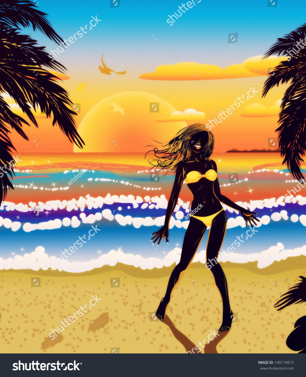 Woman Silhouette In Yellow Bikini On Tropical Beach At