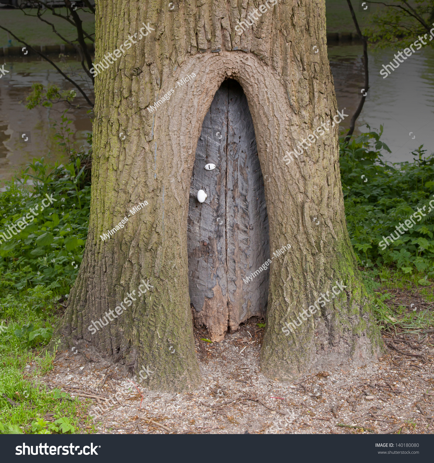 Little Wooden Fairy Tale Door Tree Stock Photo 140180080