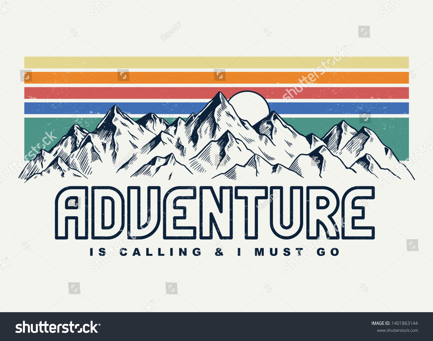Mountain illustration, outdoor adventure . Vector graphic for t shirt and other uses. #1401863144