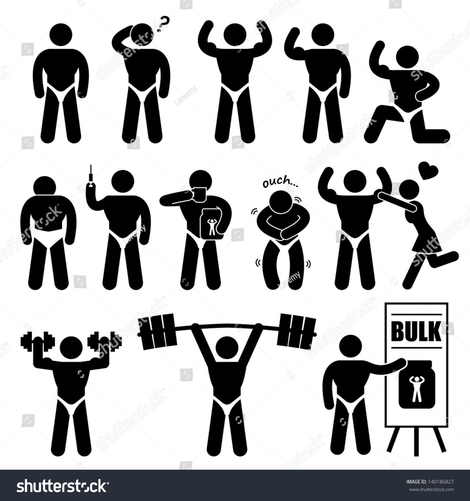 Body Builder Bodybuilder Muscle Man Workout Stock