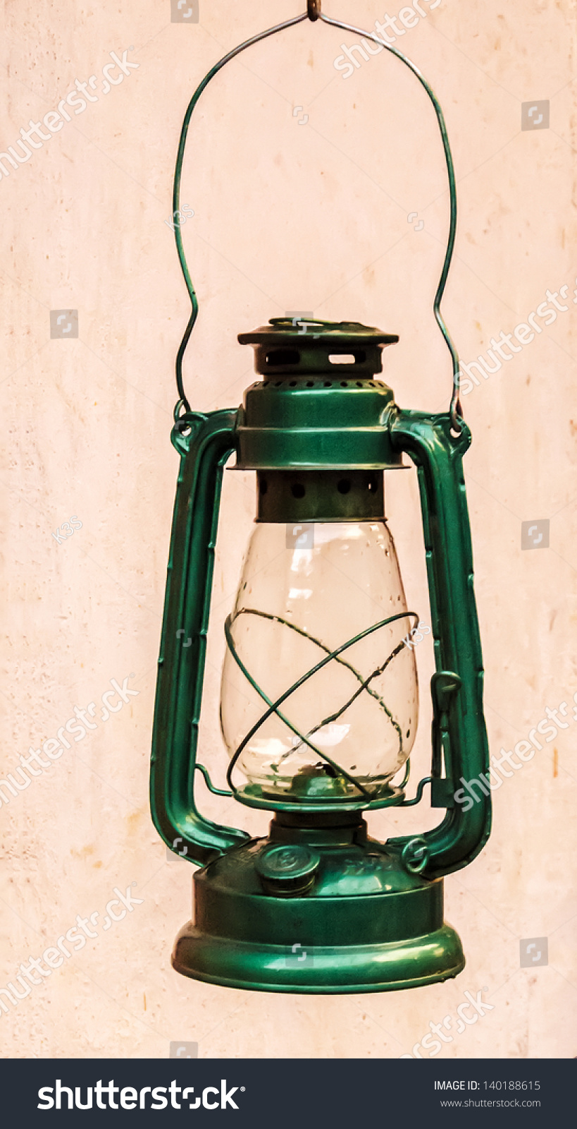 A Green Lantern In An Indian Village. This Is The Only Light Source In Many