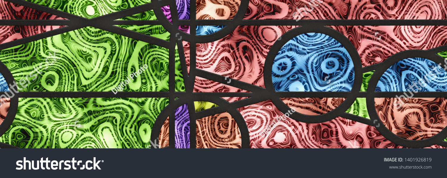 Stained Glass Wall Art Mosaic Tile Stock Illustration 1401926819