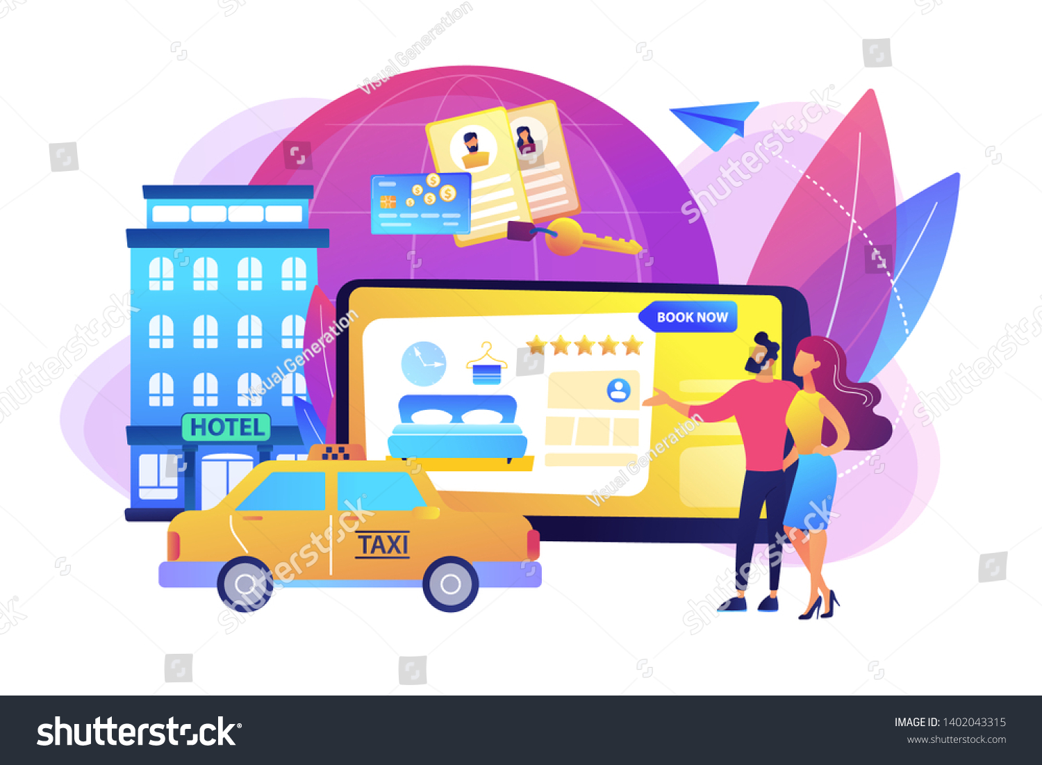 Searching Hostel Accommodation Ordering Taxi Cab Stock Vector