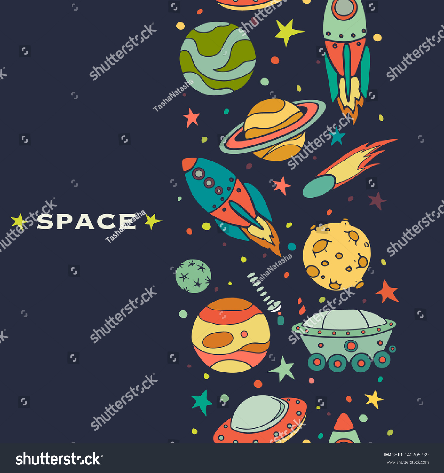 seamless pattern space rockets comet planets stock vector