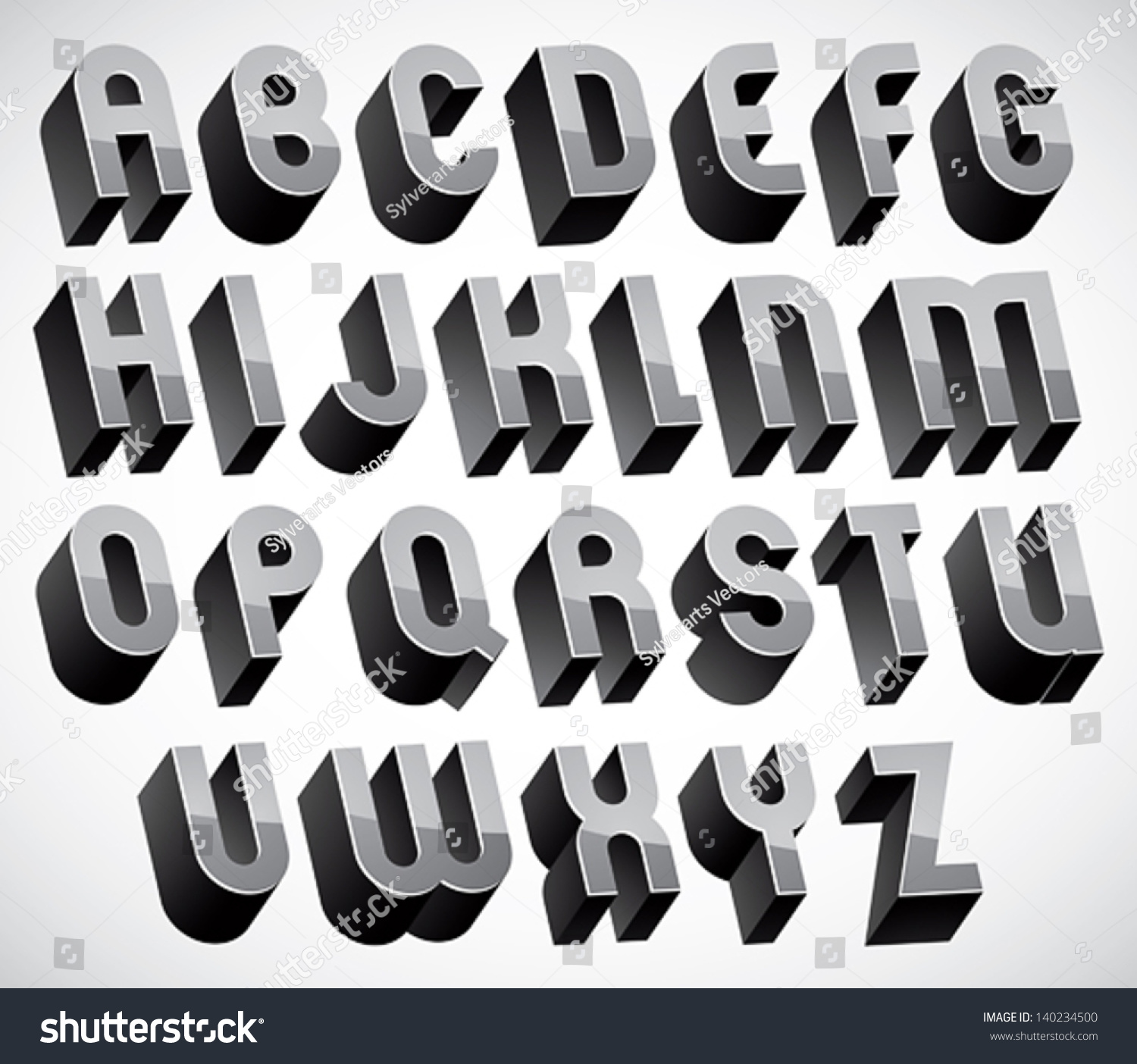 Bold Heavy 3d Letters Set Dimensional Stock Vector