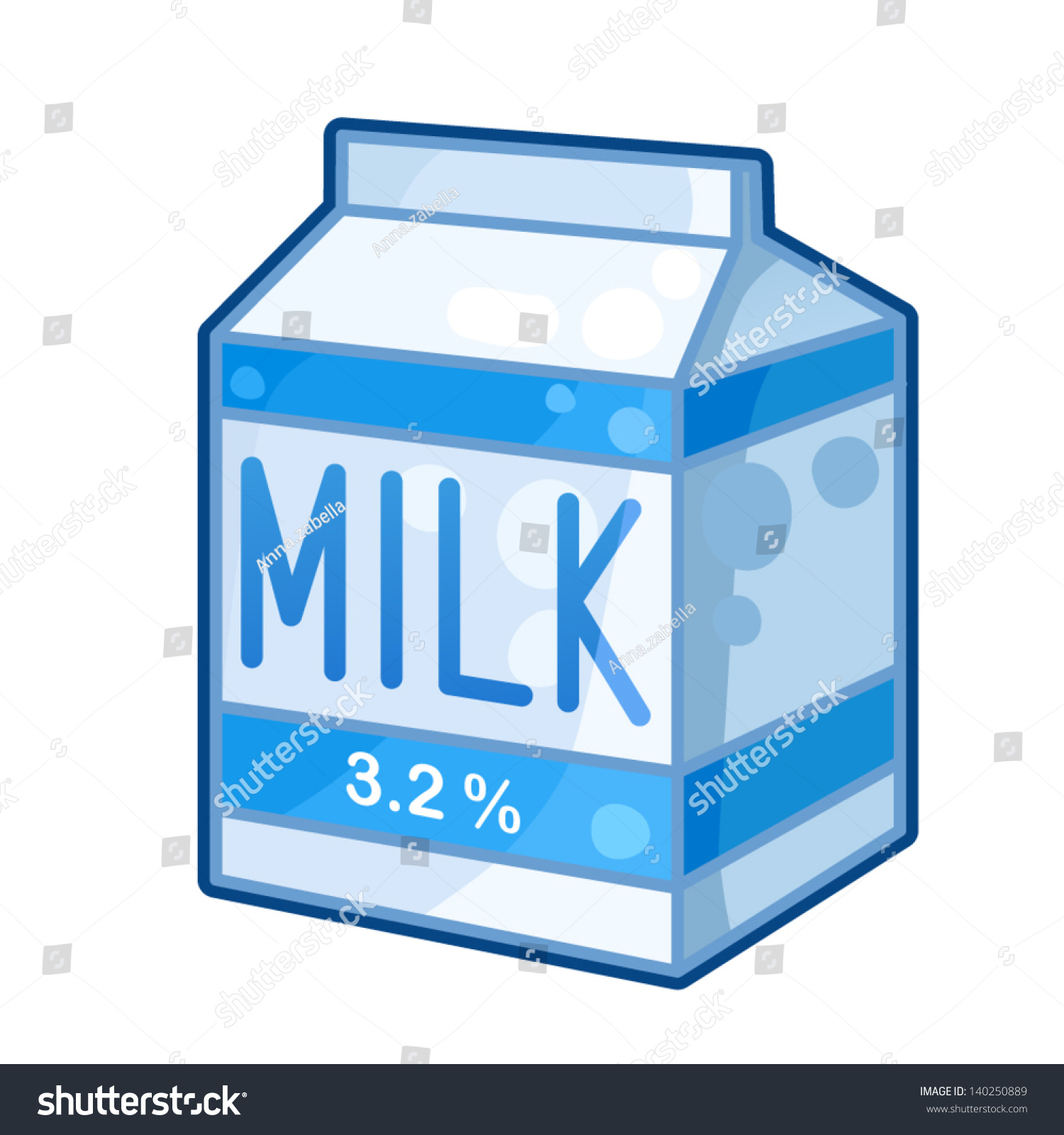 Detailed Icon Carton Of Milk Isolated On White Background