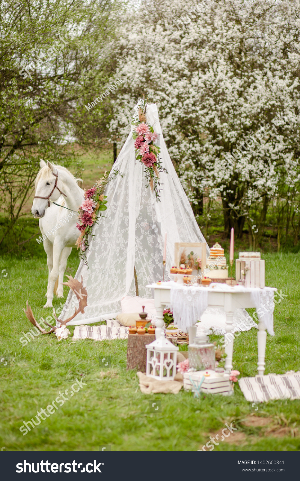 Beautiful White Horse Wedding Teepee Tent Stock Photo Edit Now 1402600841