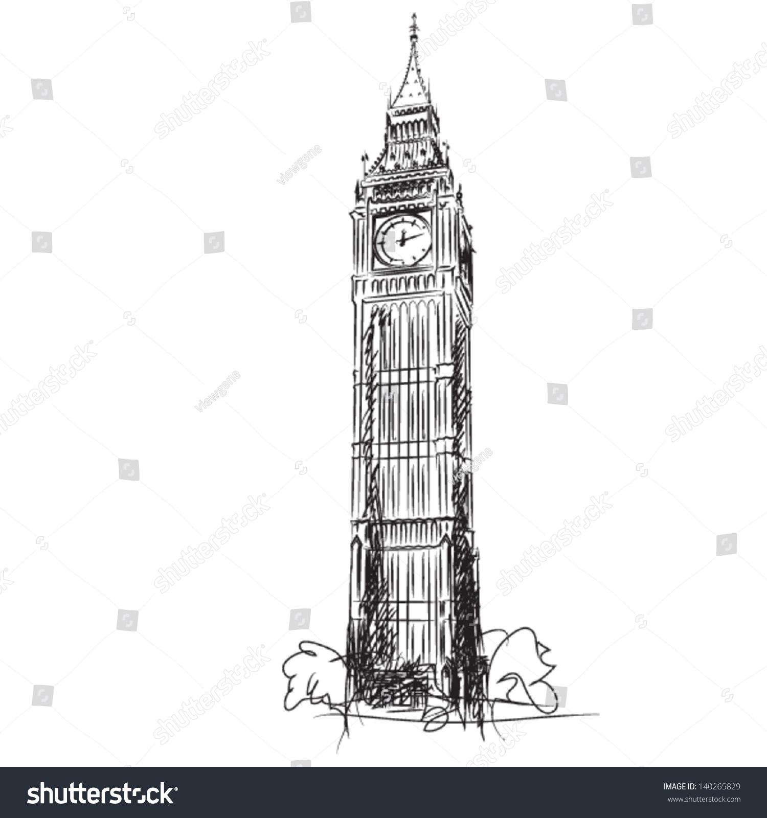 Line Drawing London : Big ben clock tower houses parliament stock vector