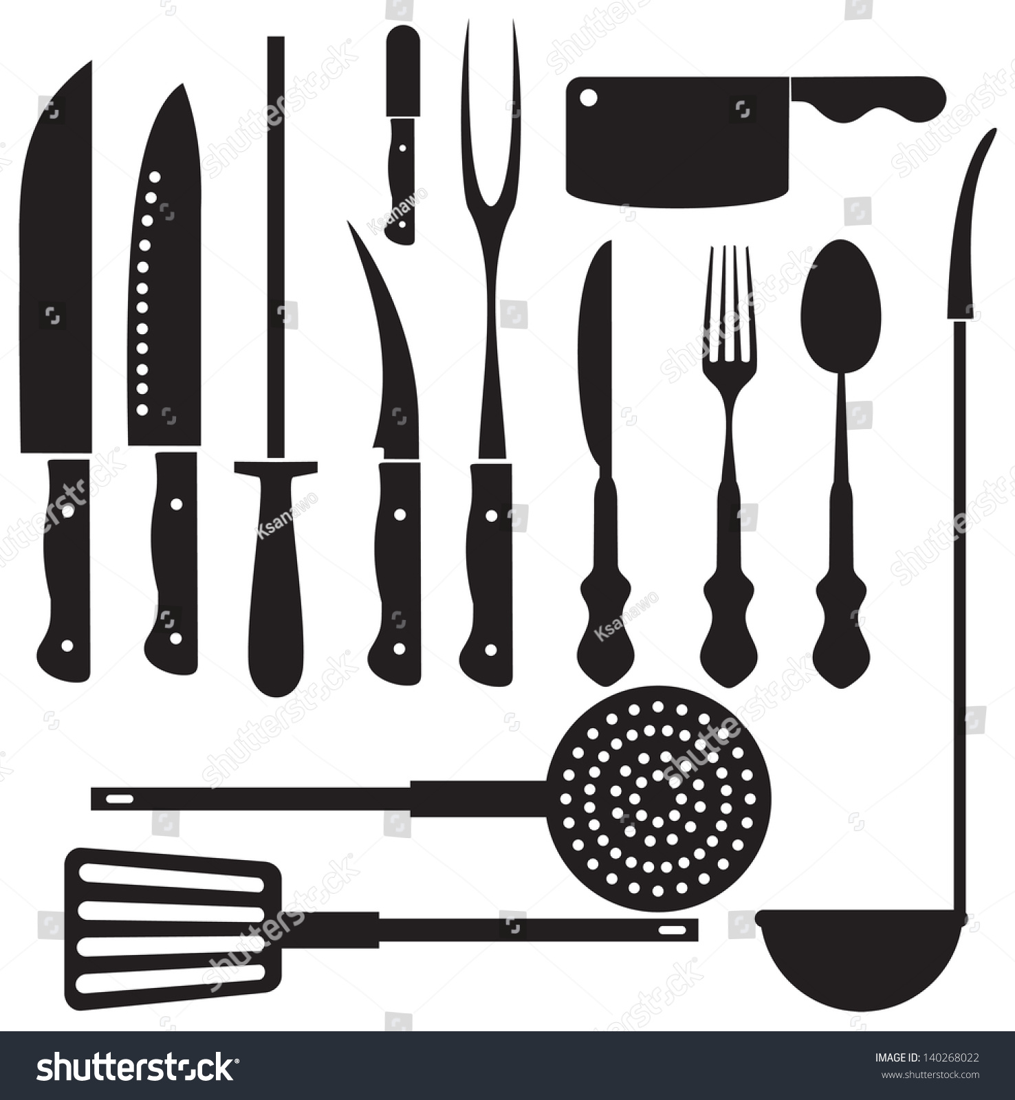 Kitchen Tools Vector Silhouettes Stock Vector HD (Royalty Free ...