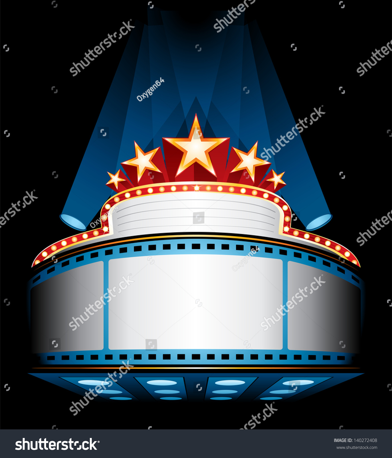 Illuminated Cinema Marquee Stock-Vektorgrafik (Lizenzfrei) 140272408 ...