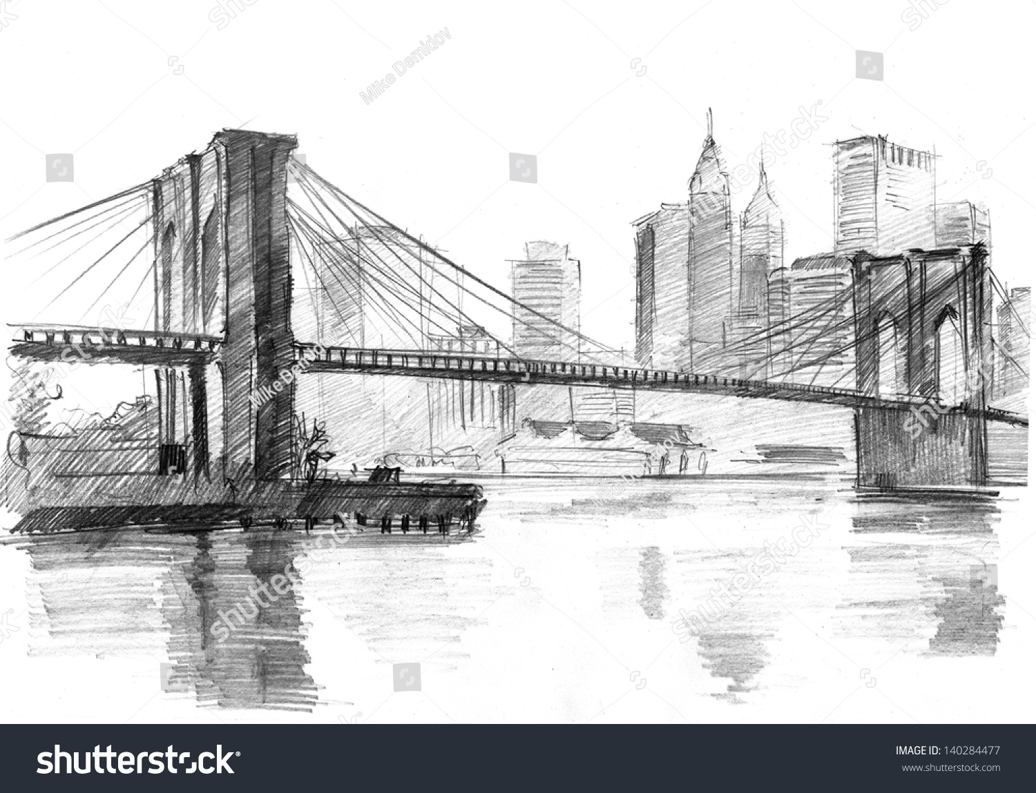 Pencil Drawing Landscape Set Skyscrapers Brooklyn Stock ...