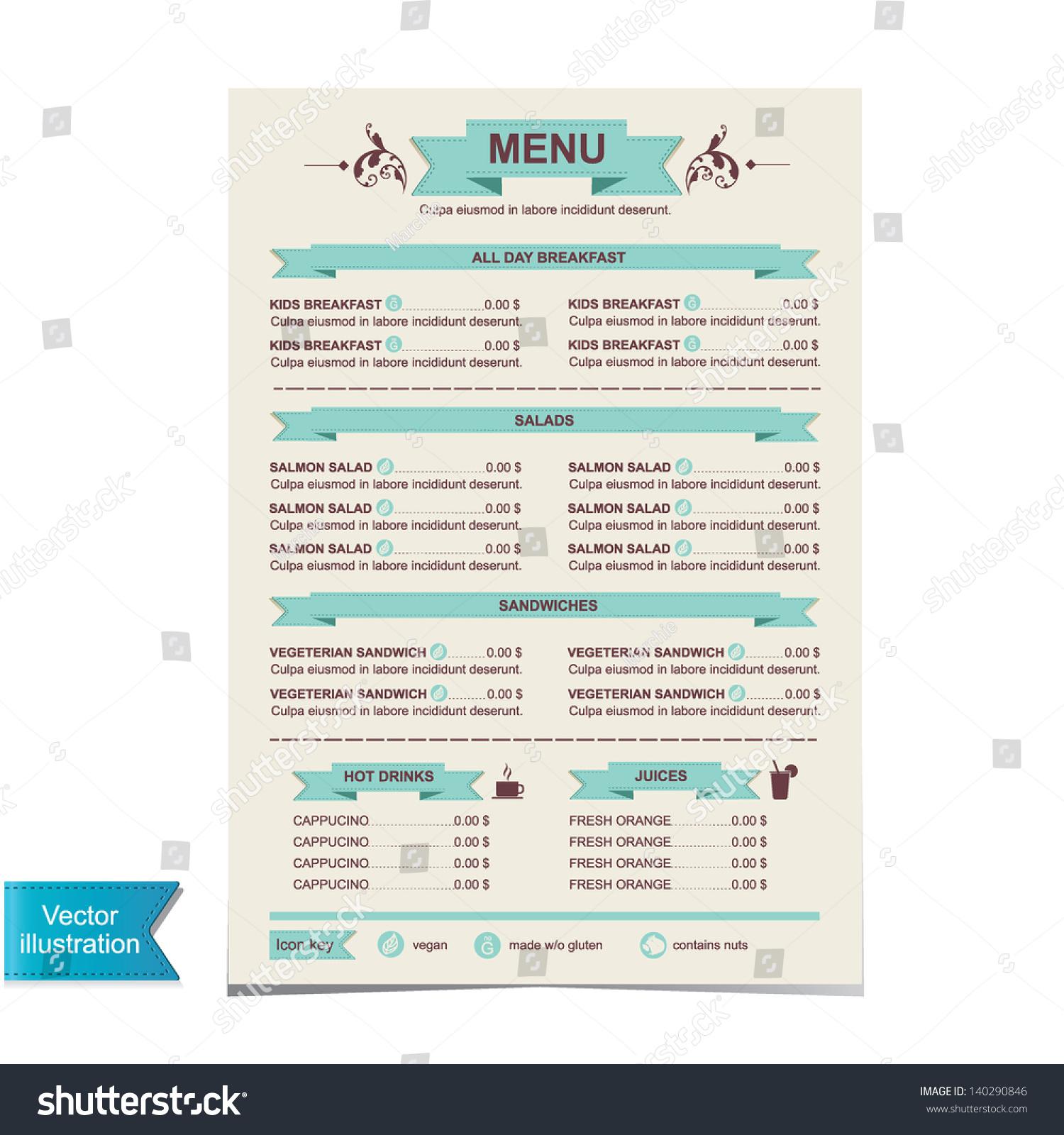 Sample Cafe Menu Template Stock Vector Cafe Menu Template Design Vector  Illustration 140290846 Sample Cafe Menu