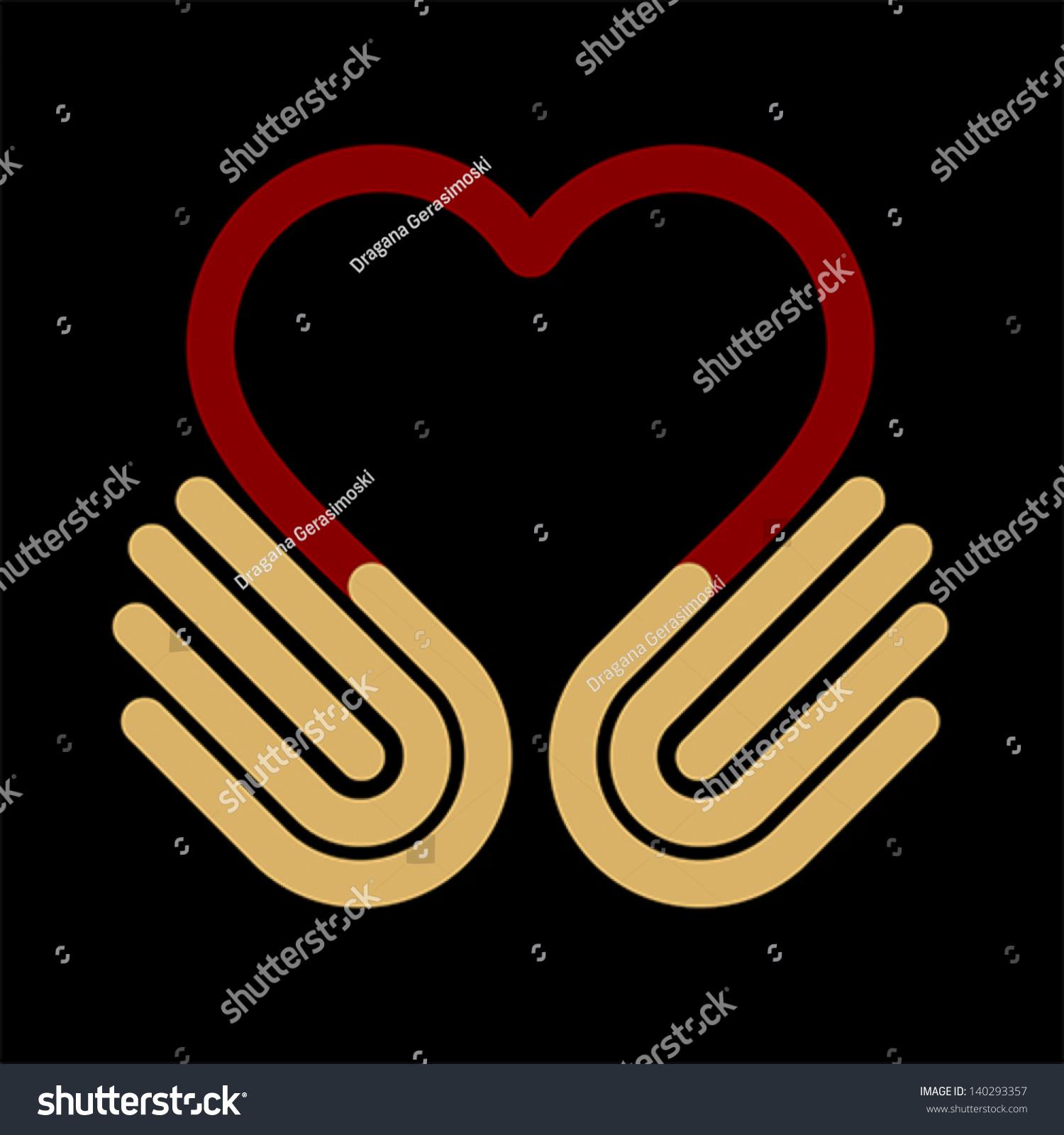 Heart Symbol Hands Help Concept Give Stock Vector 140293357