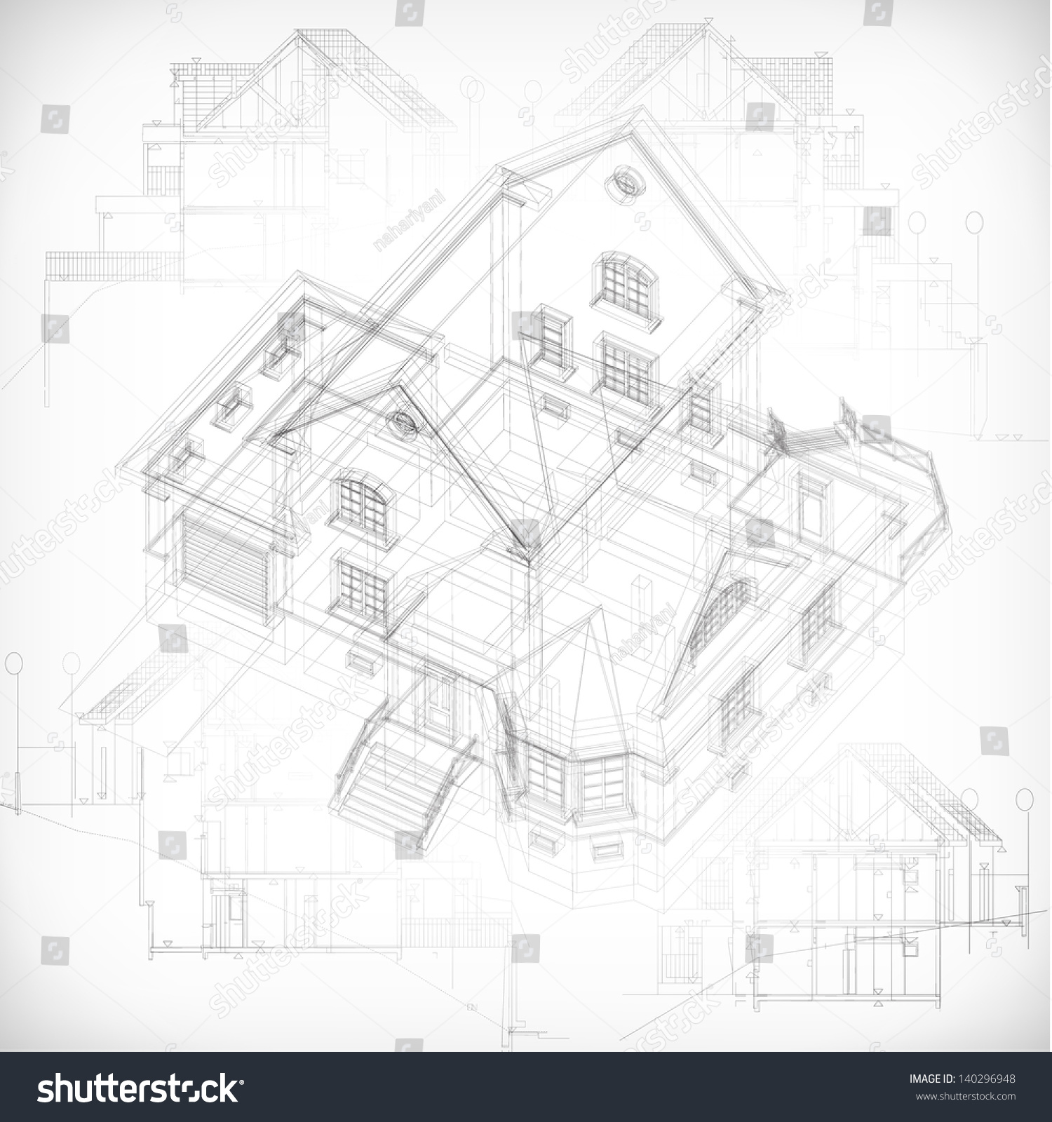 Picture Book Illustration Making An Architectural Model: Architectural Background With A 3d Building Model. Vector