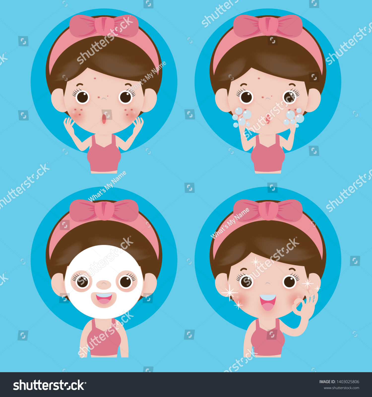 Beautiful Girl Show How Apply Facial Stock Vector Royalty Free 1403025806