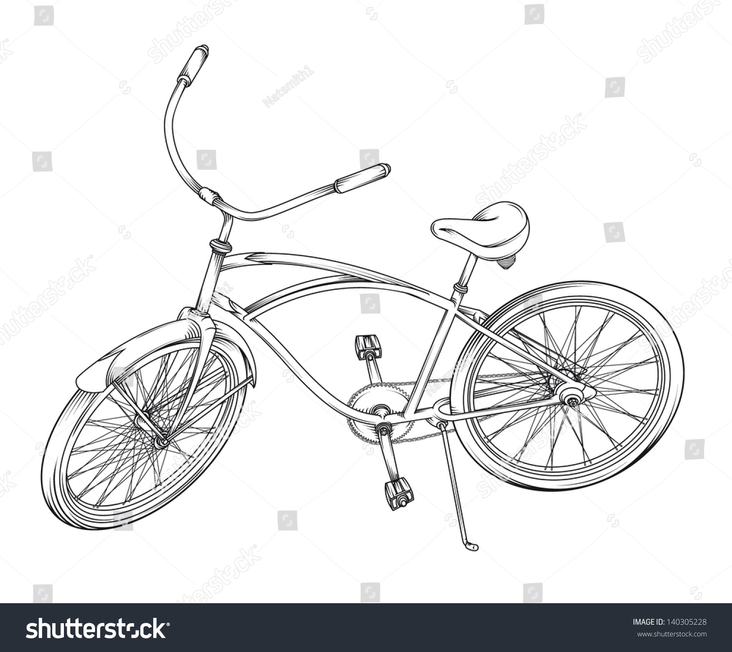 Line Drawing Bicycle : Vector line drawing of a bicycle