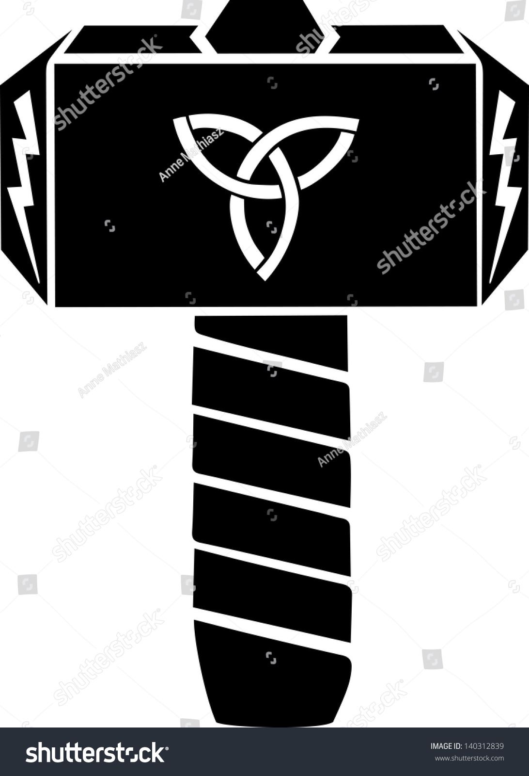 thors hammer vector design triquetra flash stock vector