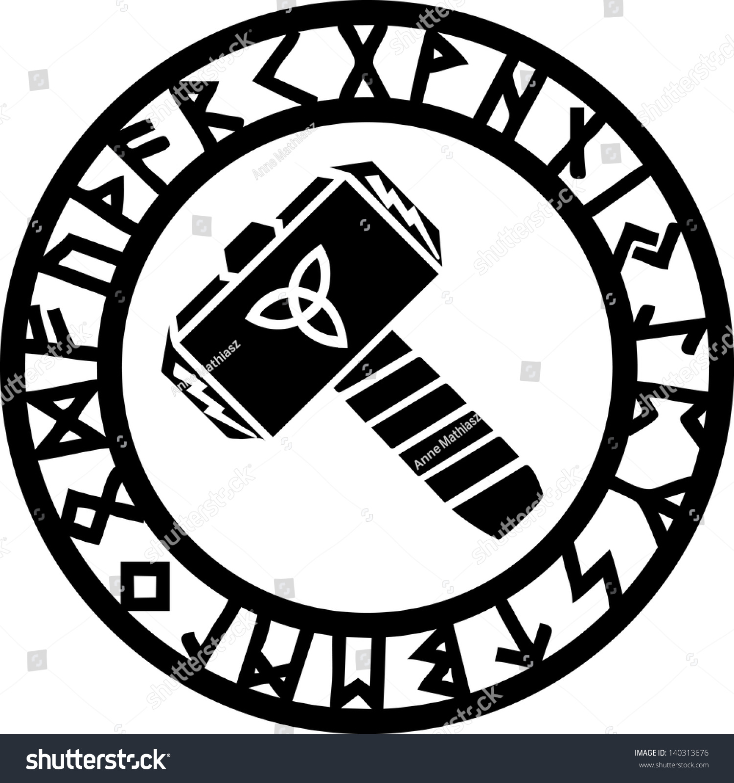thors hammer runes triquetra flash vector