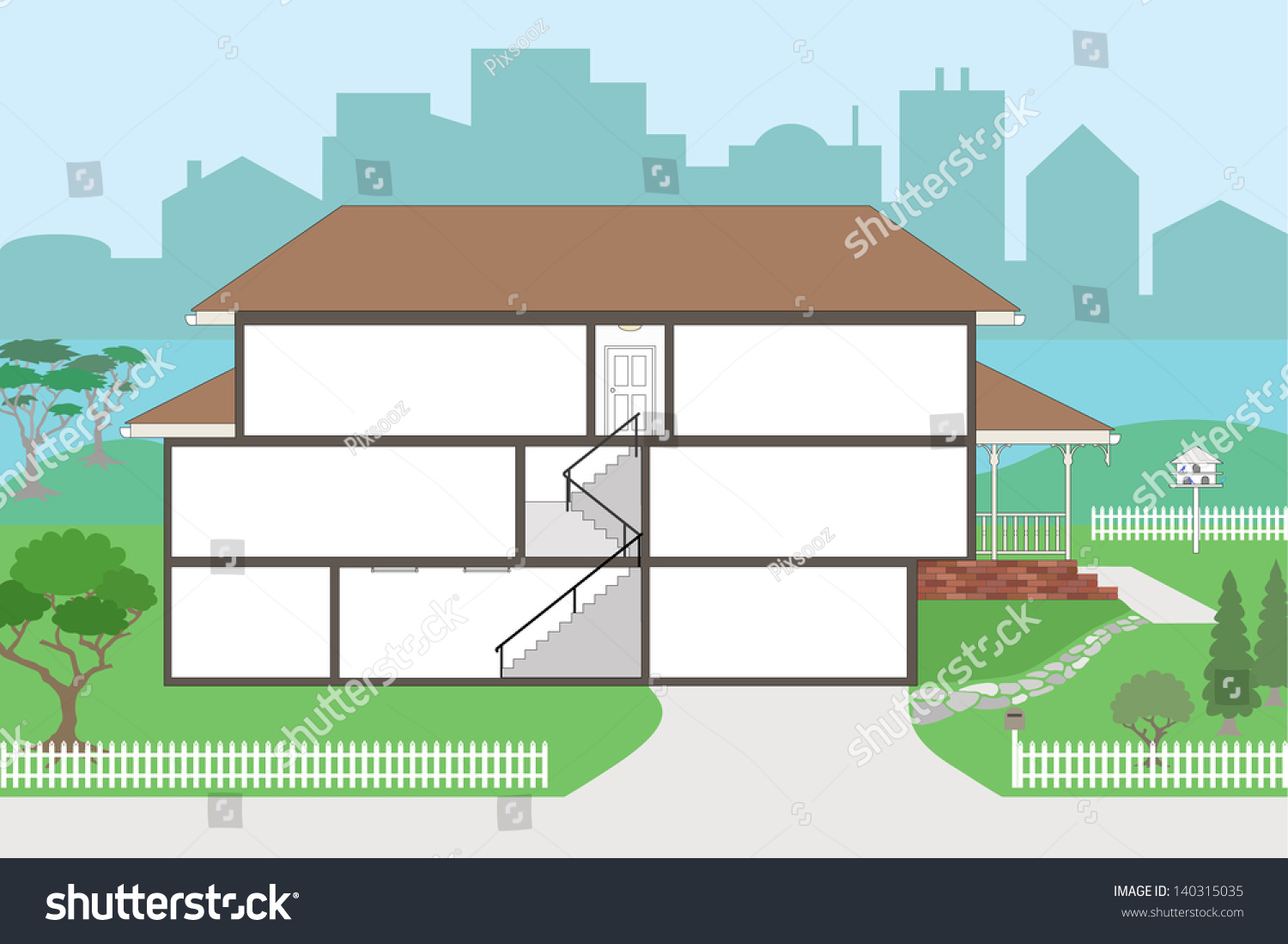 Large Cutaway House Ready Decorate Please Stock Vector