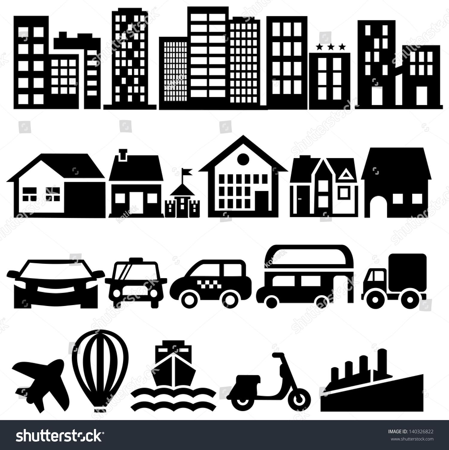 City Black Vector Icons Stock Vector 140326822 - Shutterstock