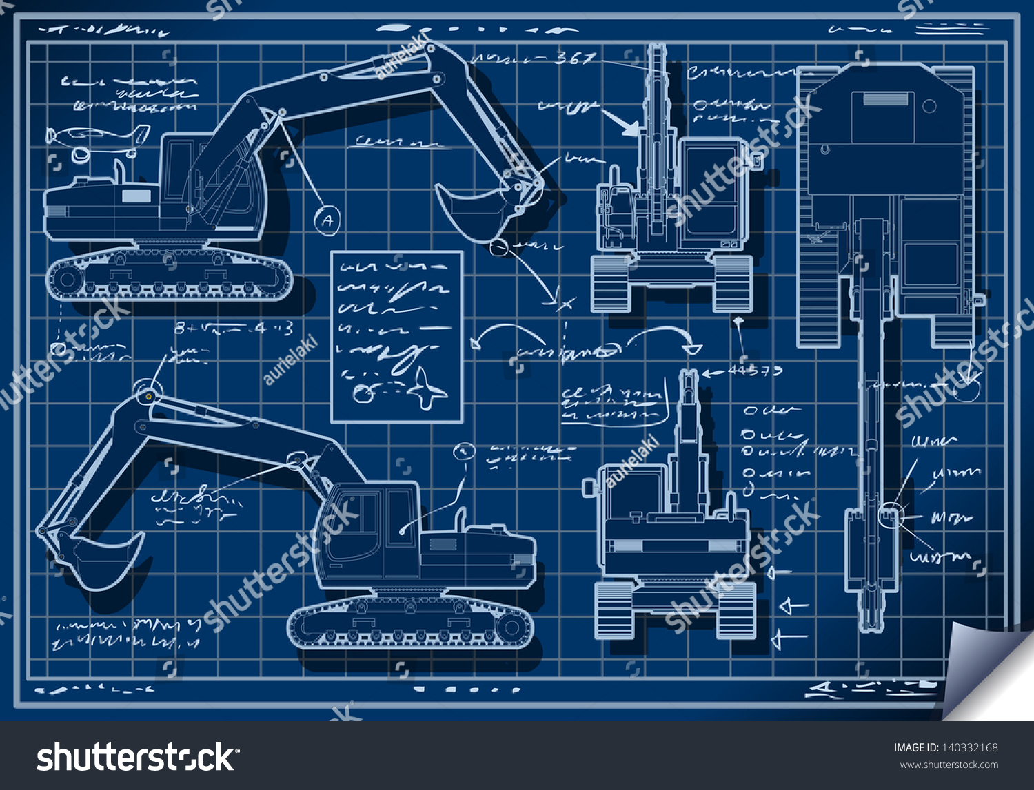 Blueprint excavator vehicle machinery blue project stock for Blueprint builder
