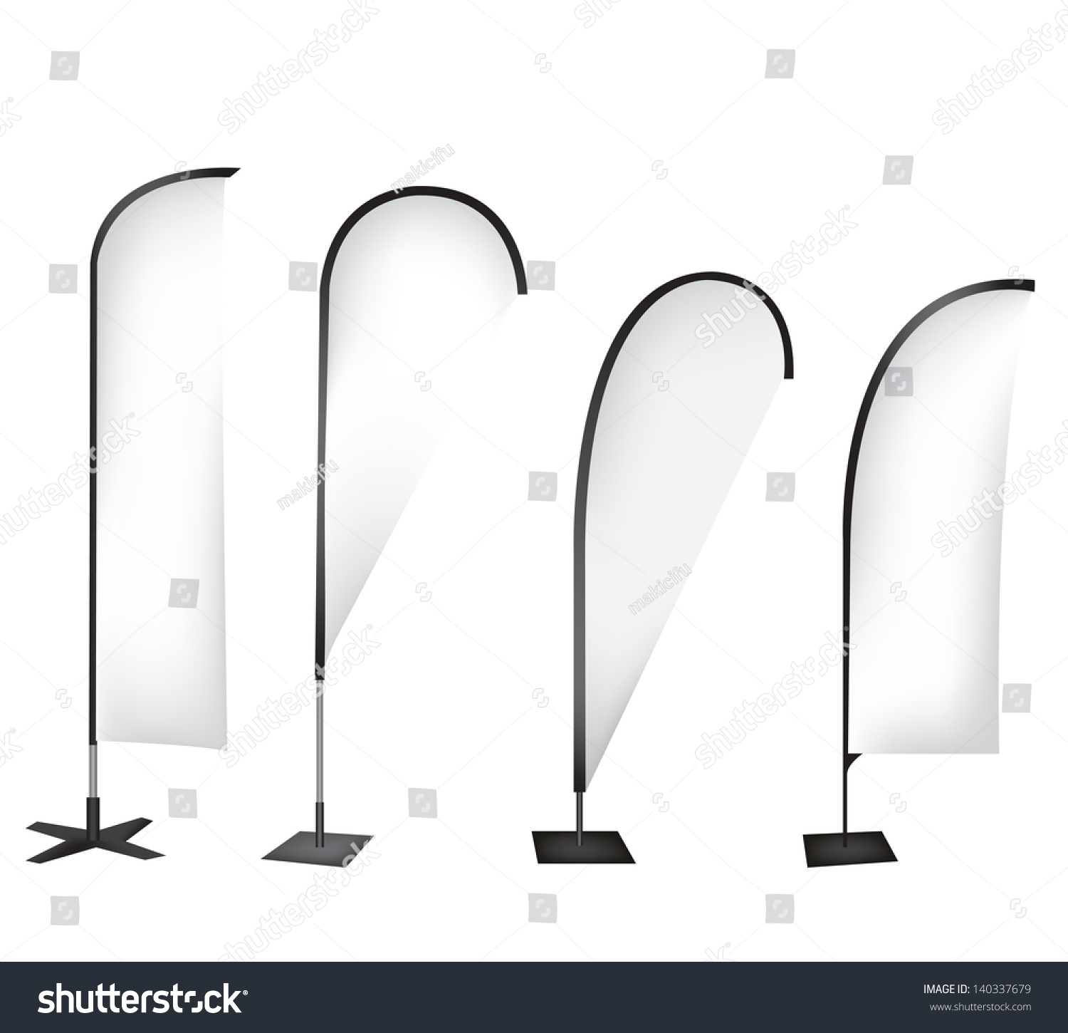 Flag banner stand display stock photo 140337679 shutterstock for Sharkfin banner template