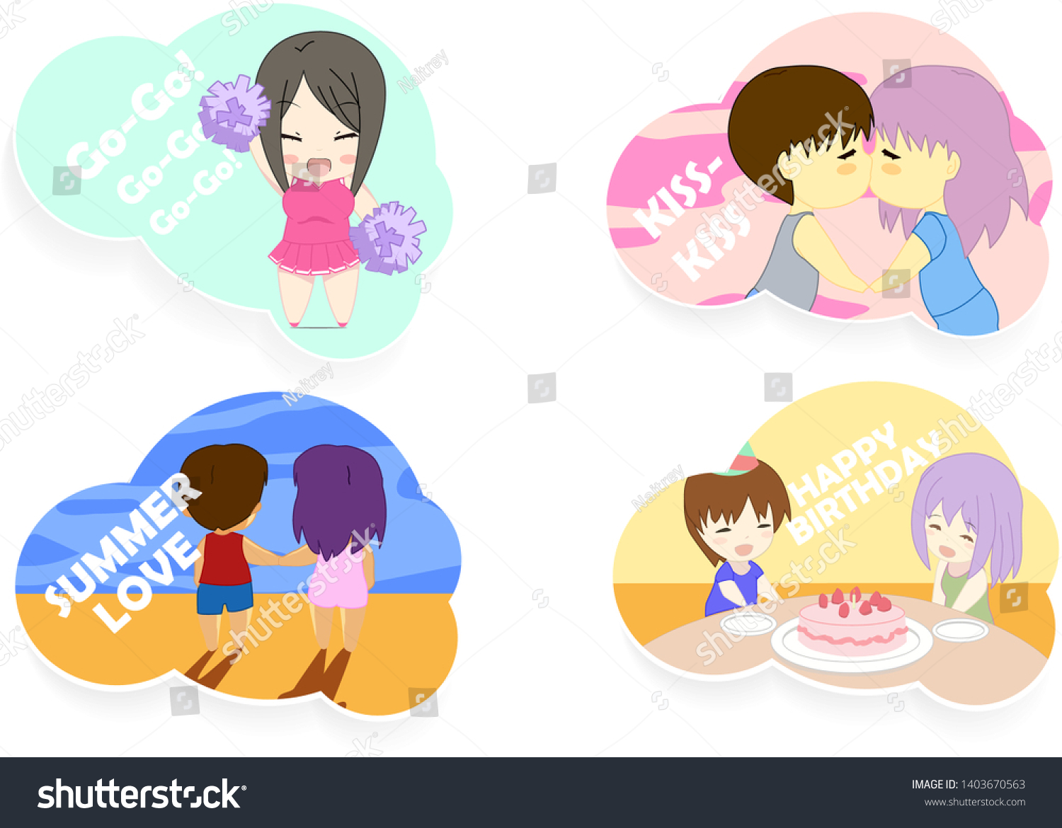Cute Vector Illustration Anime Girl Boy Stock Vector Royalty Free