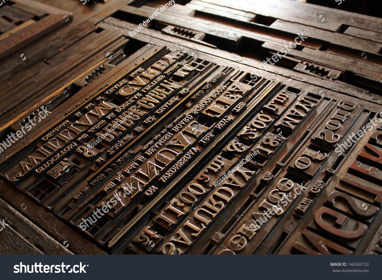 old vintage printing press letters