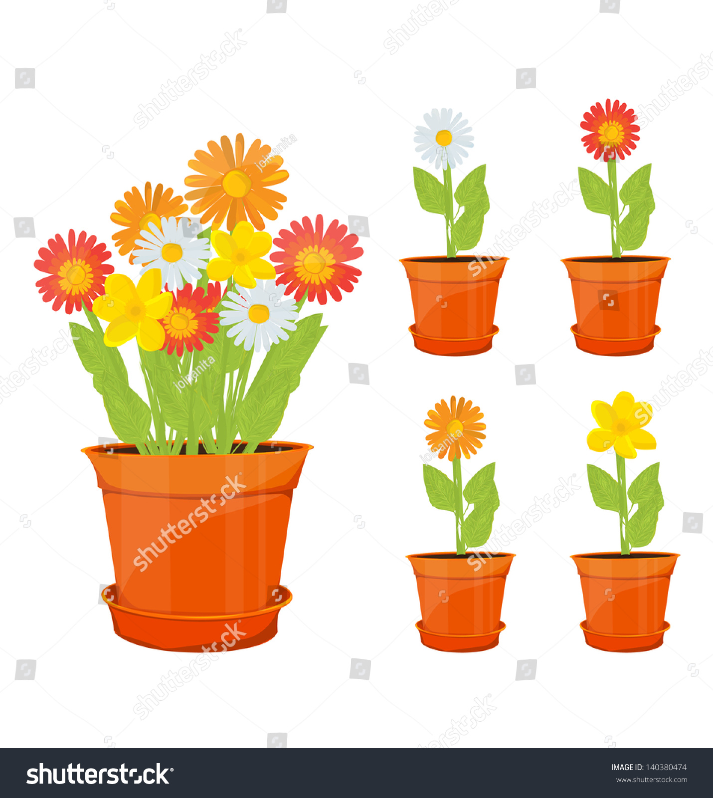 Colorful Flowers Pots Stock Vector Shutterstock