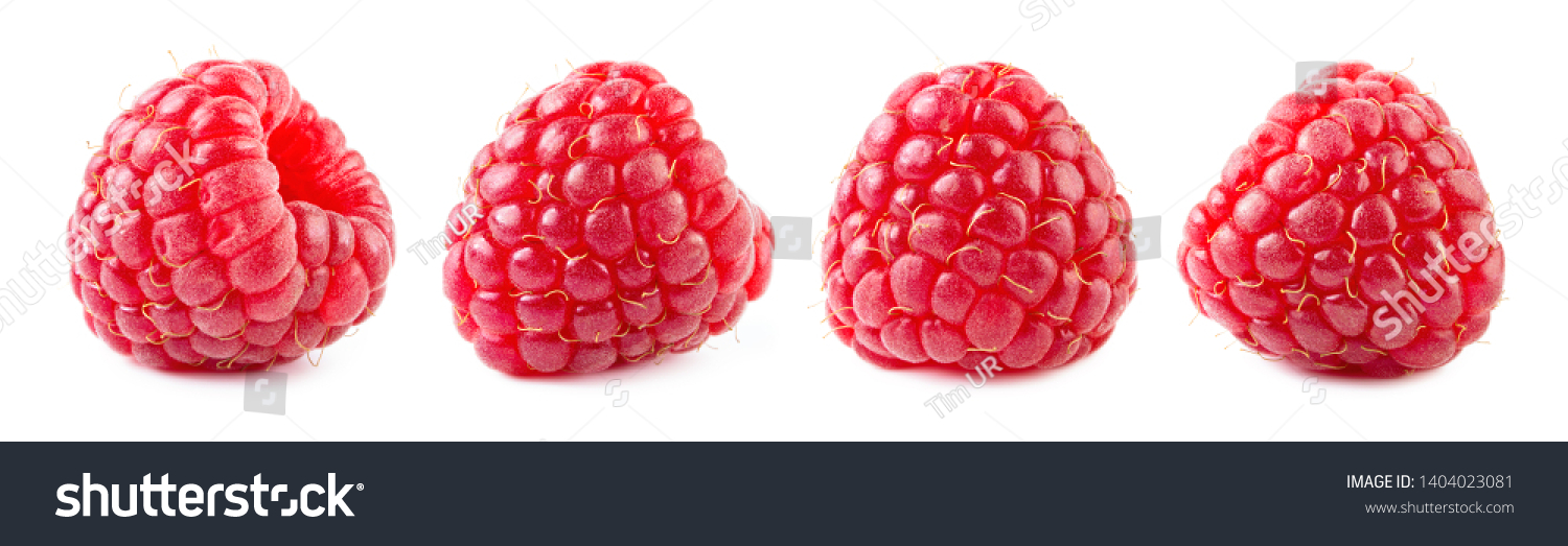 Raspberries isolate set. Raspberry isolated on white background. Red berry closeup. #1404023081