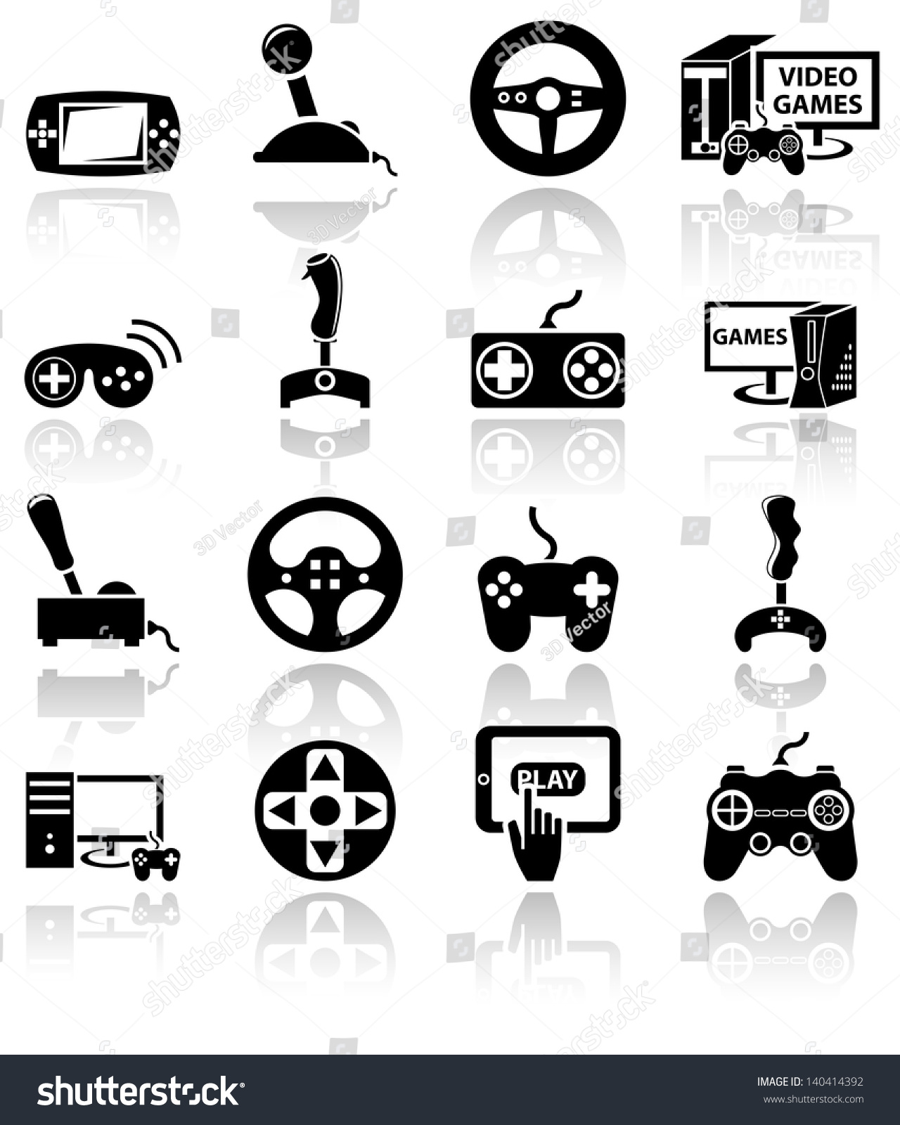 Video Game Vector Icon Set On Stock Vector 140414392 - Shutterstock