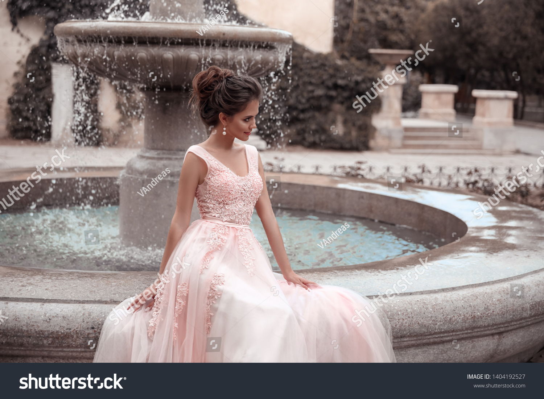 Beautiful Bride Pink Wedding Dress Outdoor Stock Photo Edit Now