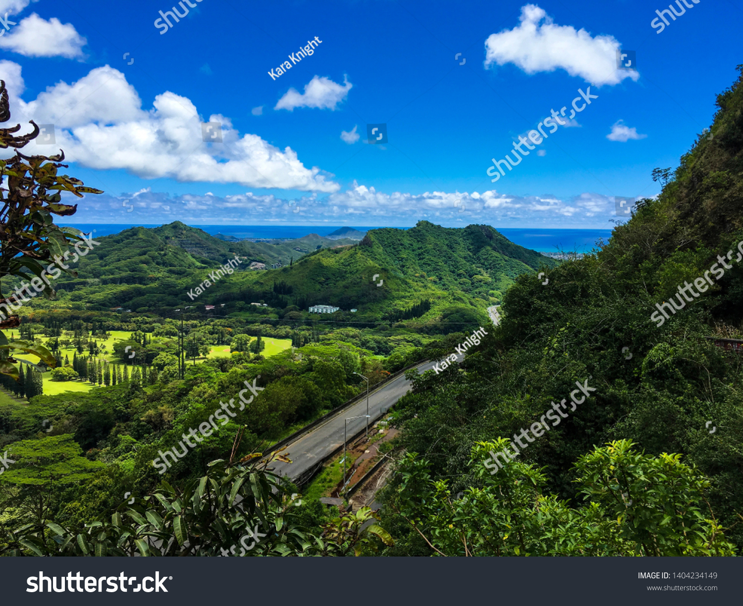 Kailua, Hawaii / USA - May 12 2019: View seen from hiking on the Old Pali road of the Pali Highway, which is currently under construction, closure, the east side of Oahu, views of Kailua and Kaneohe.