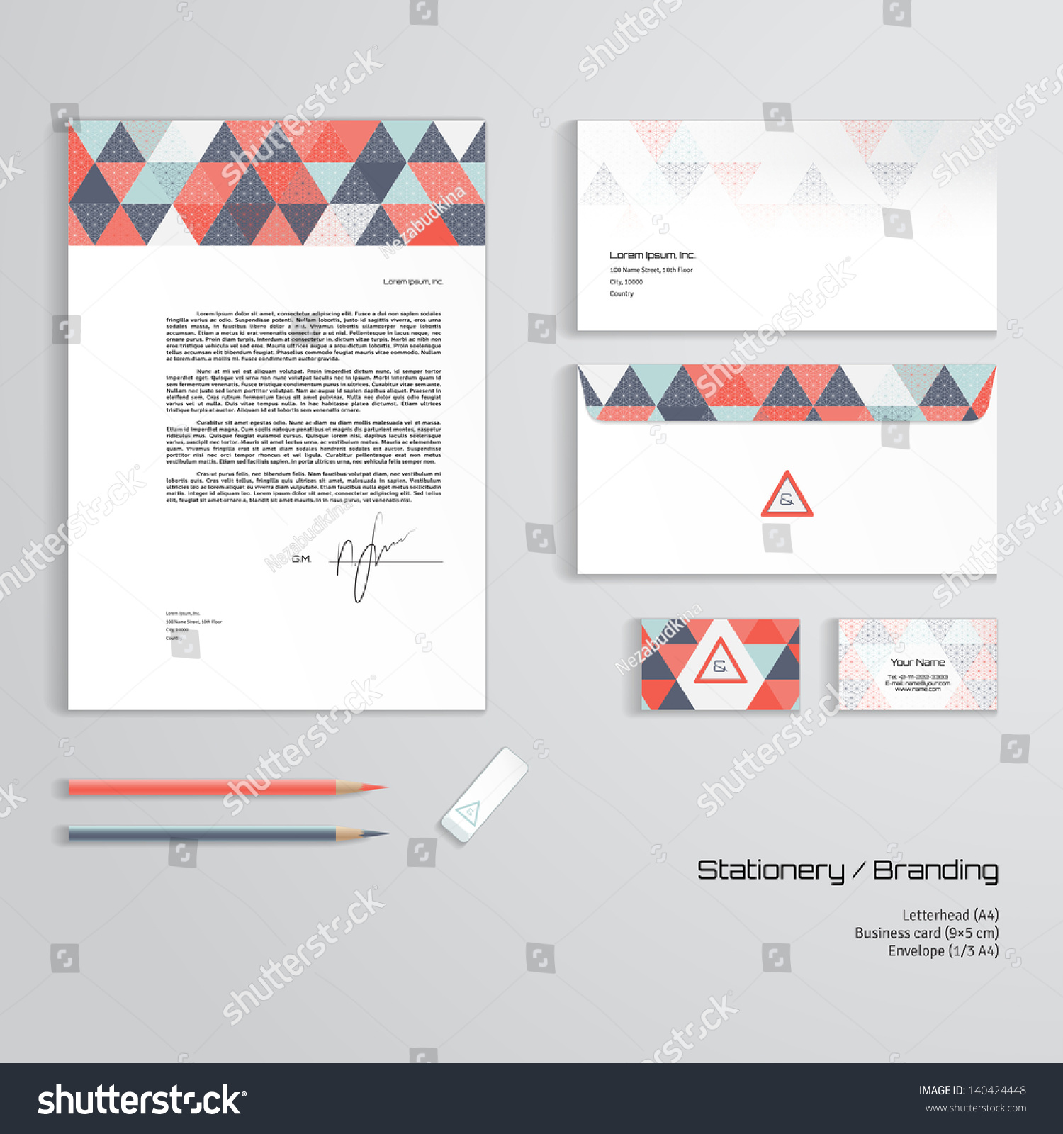 Letterhead Envelopes: Vector Corporate Identity Templates. Multicolored