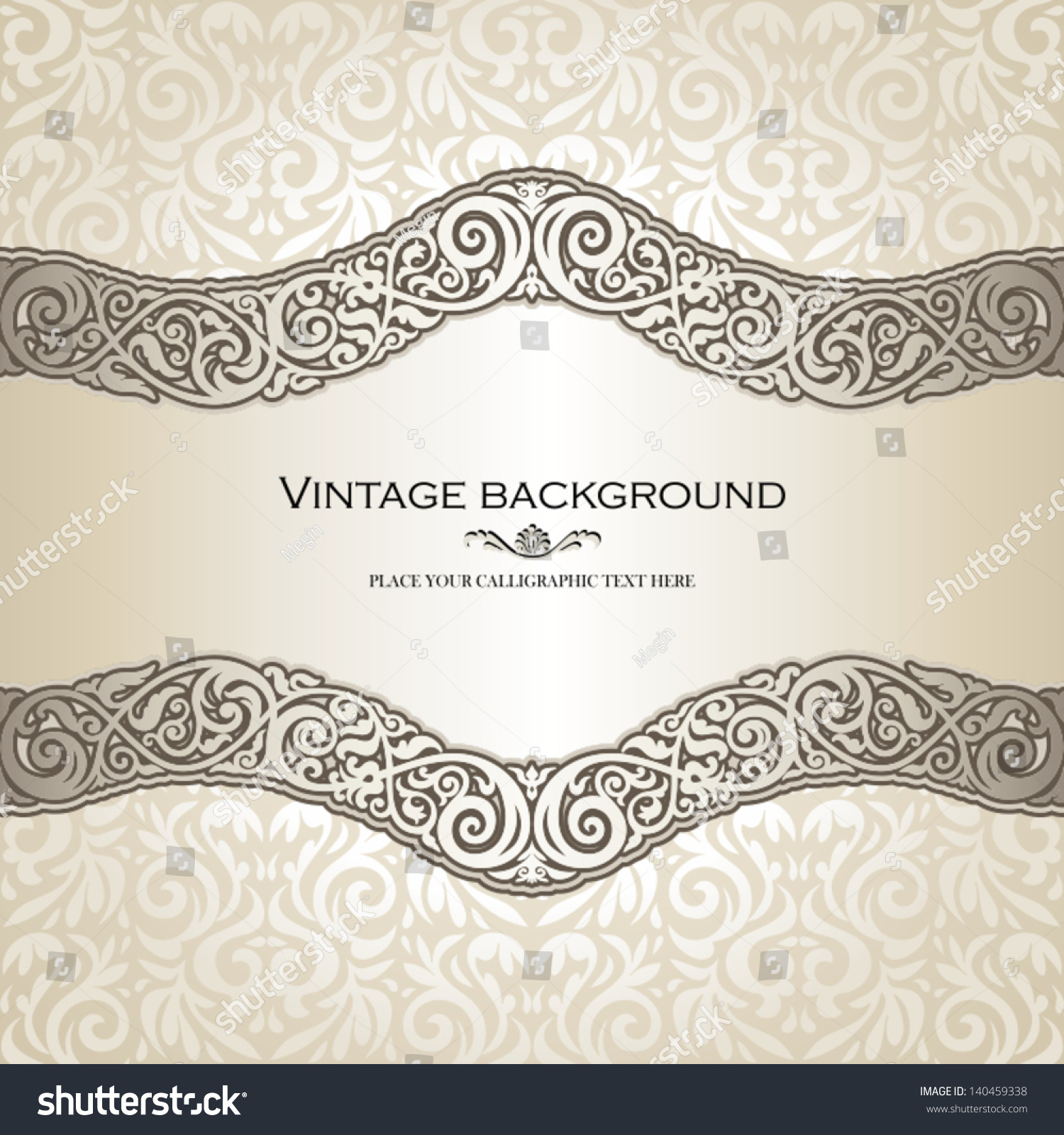 Vintage background ornate baroque pattern vector illustration stock -  Vectors Illustrations Footage Music Vintage Background Elegance Antique Victorian Floral Ornament Baroque Frame Beautiful Invitation