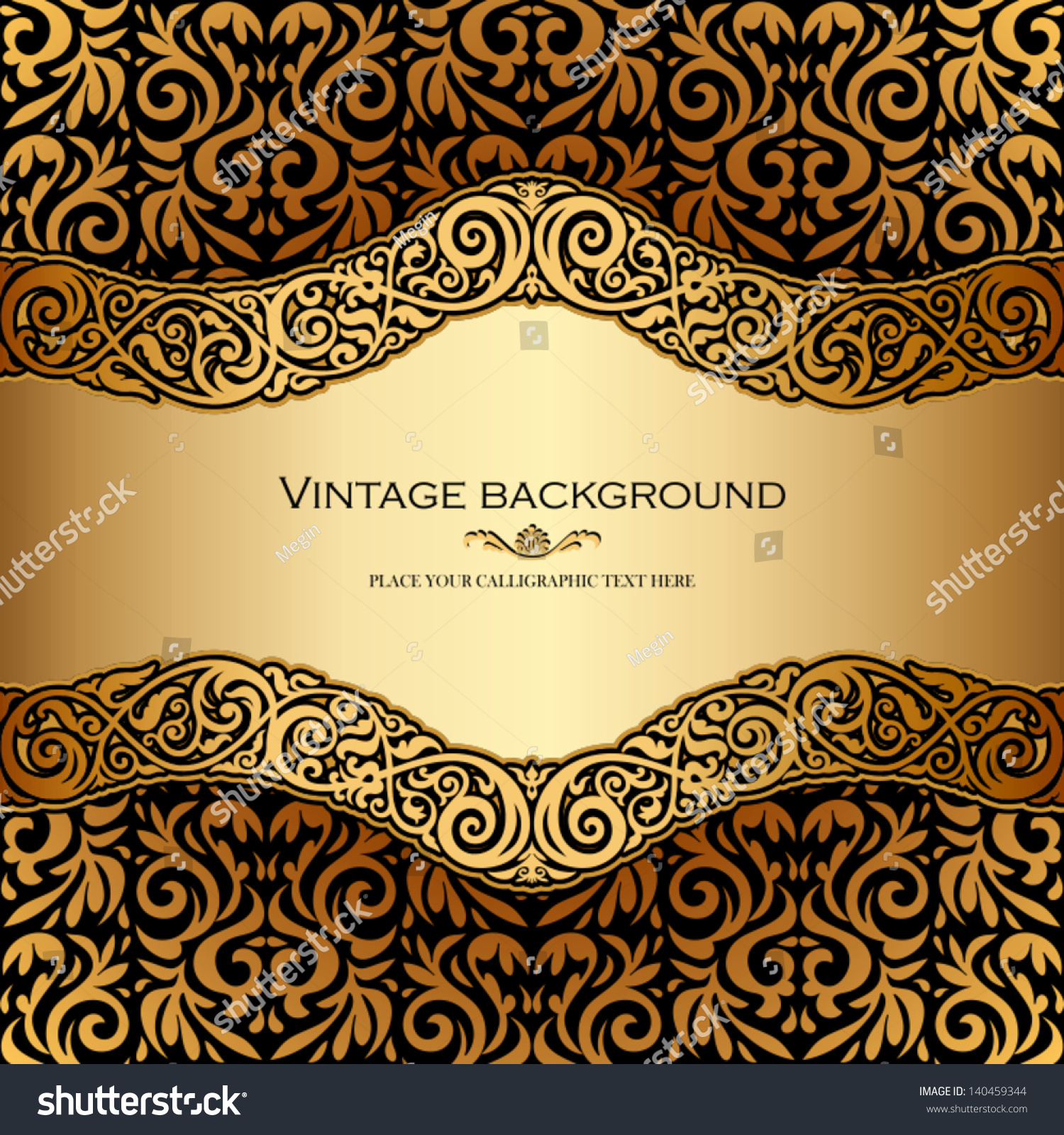 Vintage background ornate baroque pattern vector illustration stock -  Vectors Illustrations Footage Music Vintage Background Antique Victorian Gold Ornament Baroque Frame Beautiful Old Paper