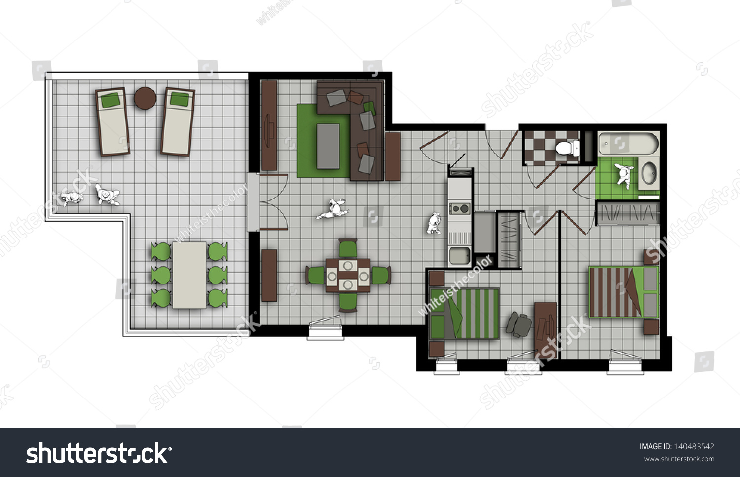 top view of an interior of three-room apartment with a terrace in grey,