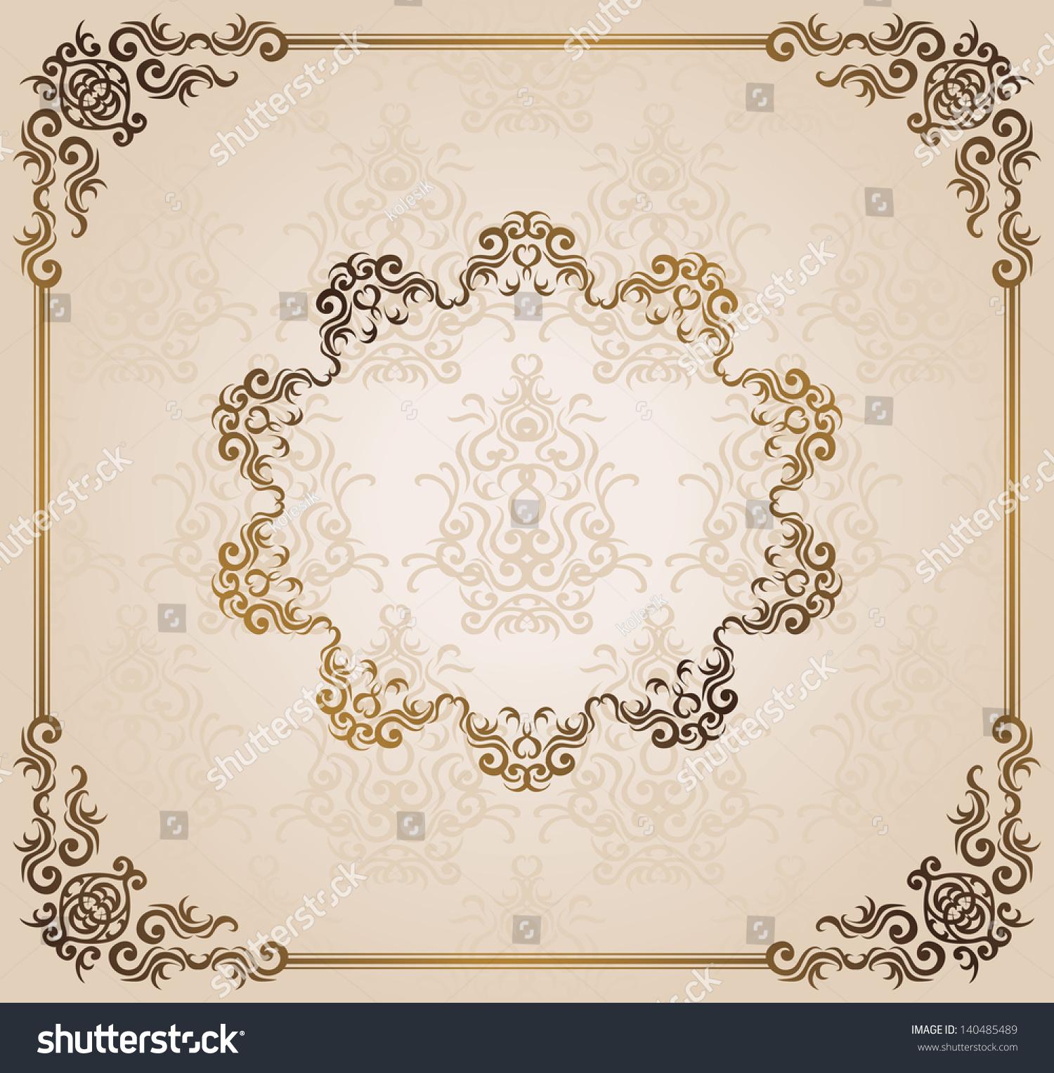 Vintage Damask Wallpaper Frame Can Be Stock Illustration 140485489 ...