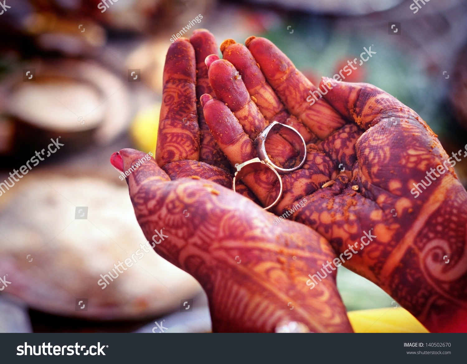 Indian Wedding Rituals Rings On Hands Stock Photo (Royalty Free ...