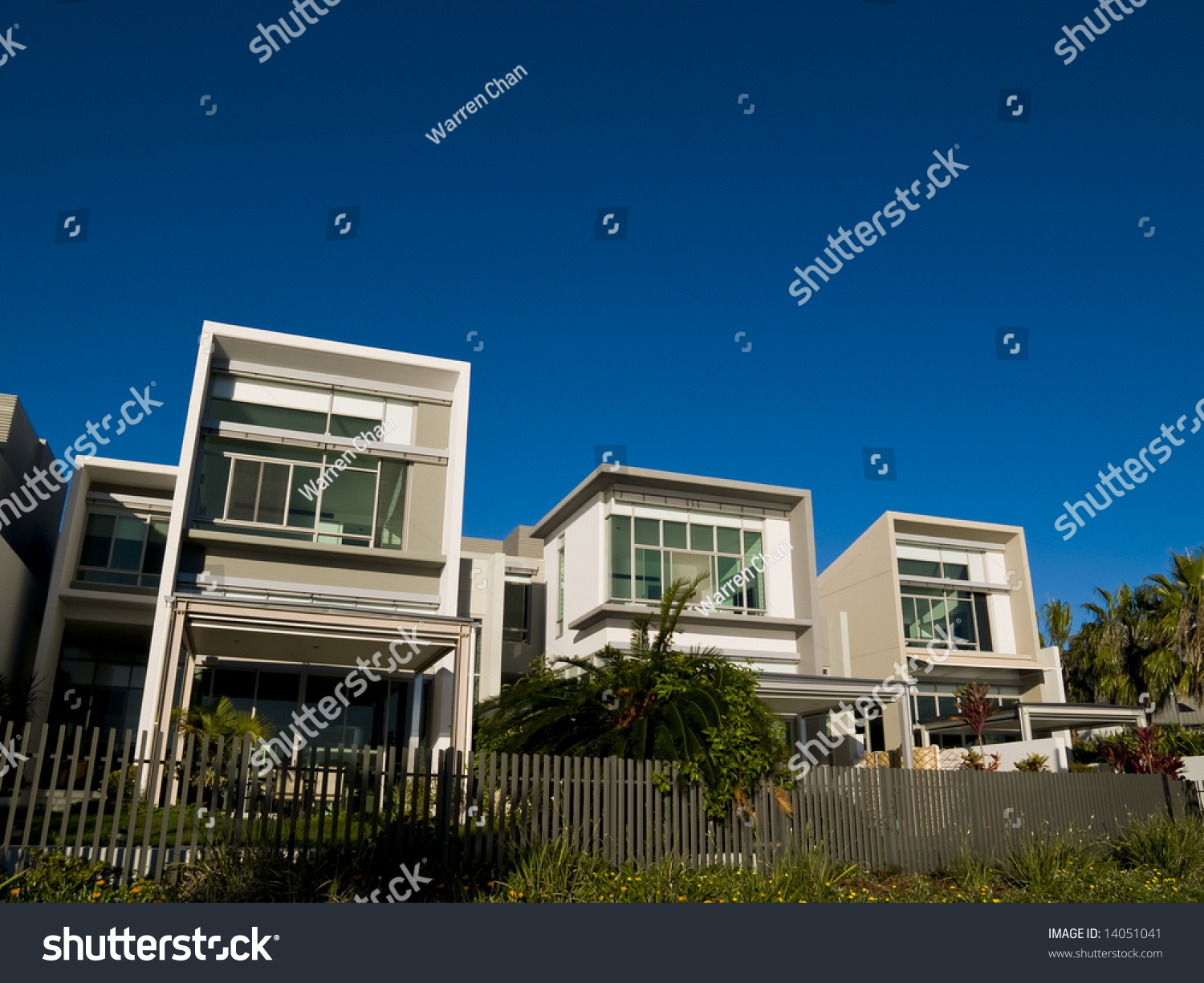 Trio of modern architecturally designed residences in an up market estate stock photo 14051041 - Modern architectural trio ...