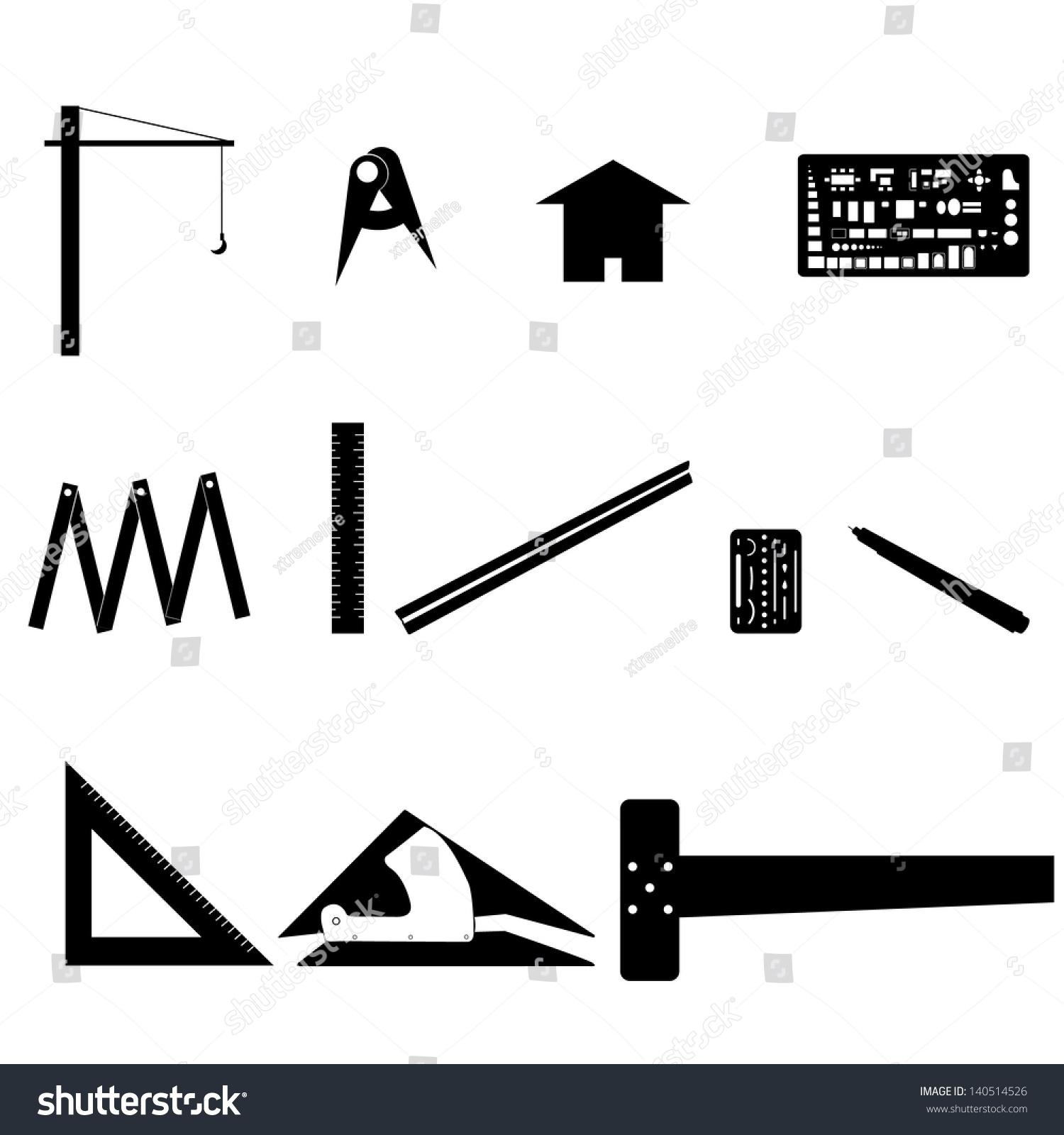 Set Drawing Tools Engineering Symbol Stock Vector (Royalty Free